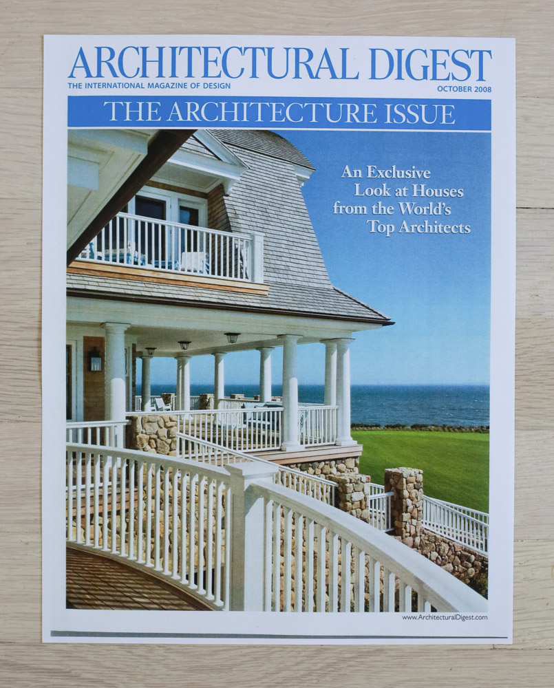 """A    rchitectural Digest  , October 2008, """"The Architecture Issue."""" Editor-in-Chief, Paige Rense-Noland. Art Director, Jeffrey Nemeroff. Senior Editor (Architecture) and Book-Reviews Editor,Richard Olsen. Conde Nast Publications, Inc."""