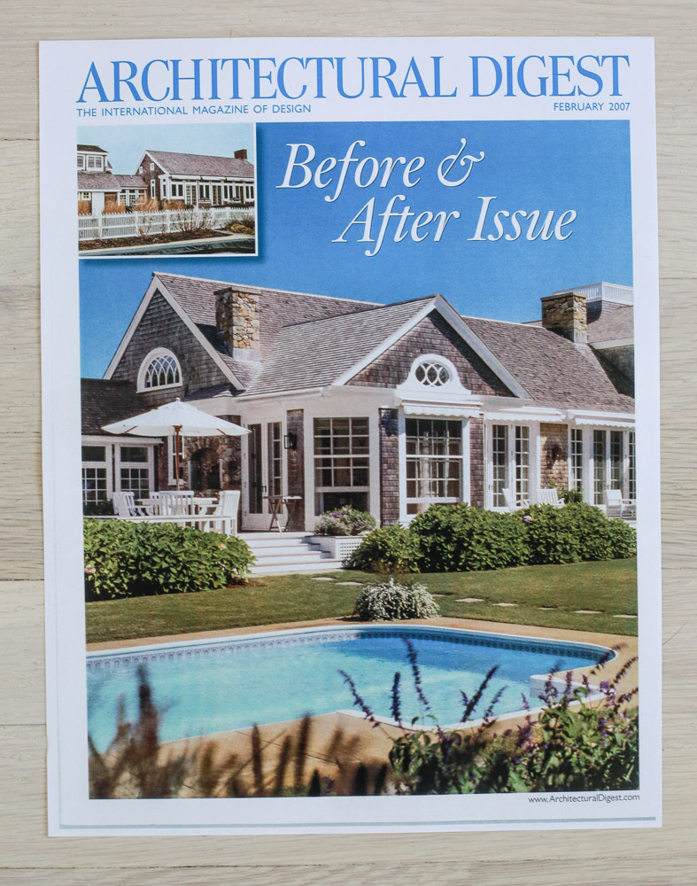 """A    rchitectural Digest  , February 2007, """"Before & After Issue."""" Editor-in-Chief, Paige Rense-Noland. Art Director, Jeffrey Nemeroff. Senior Editor (Architecture) and Book-Reviews Editor,Richard Olsen. Conde Nast Publications, Inc."""