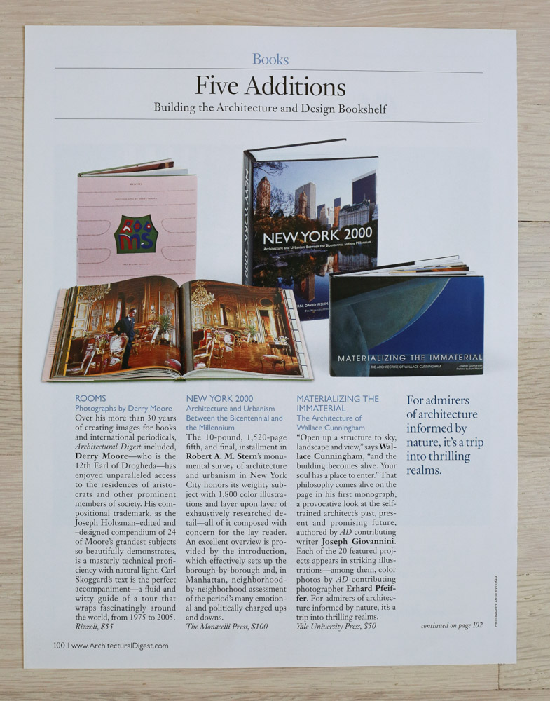 """Book reviews by Richard Olsen.   A    rchitectural Digest  , February 2007, """"Before & After Issue."""" Editor-in-Chief, Paige Rense-Noland. Art Director, Jeffrey Nemeroff. Senior Editor (Architecture) and Book-Reviews Editor,Richard Olsen. Conde Nast Publications, Inc."""