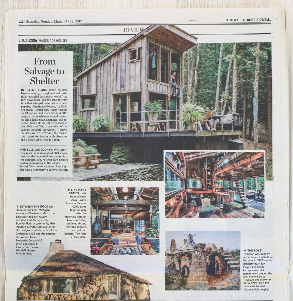 Handmade Houses   in   The Wall Street Journal  , March 17–18, 2012.