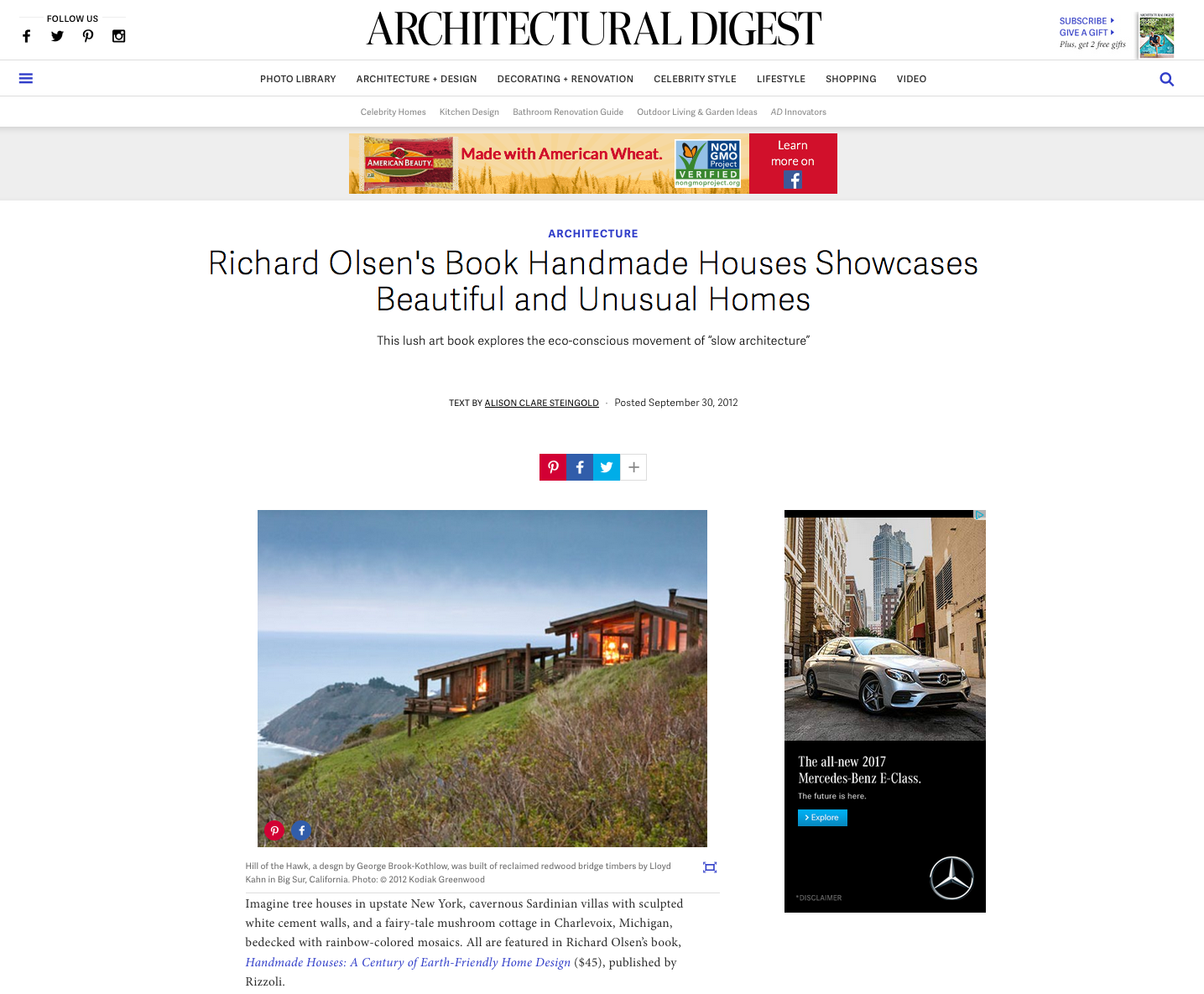 Handmade Houses   reviewed by Alison Clare Steingold in   Architectural Digest  , September 30, 2012.