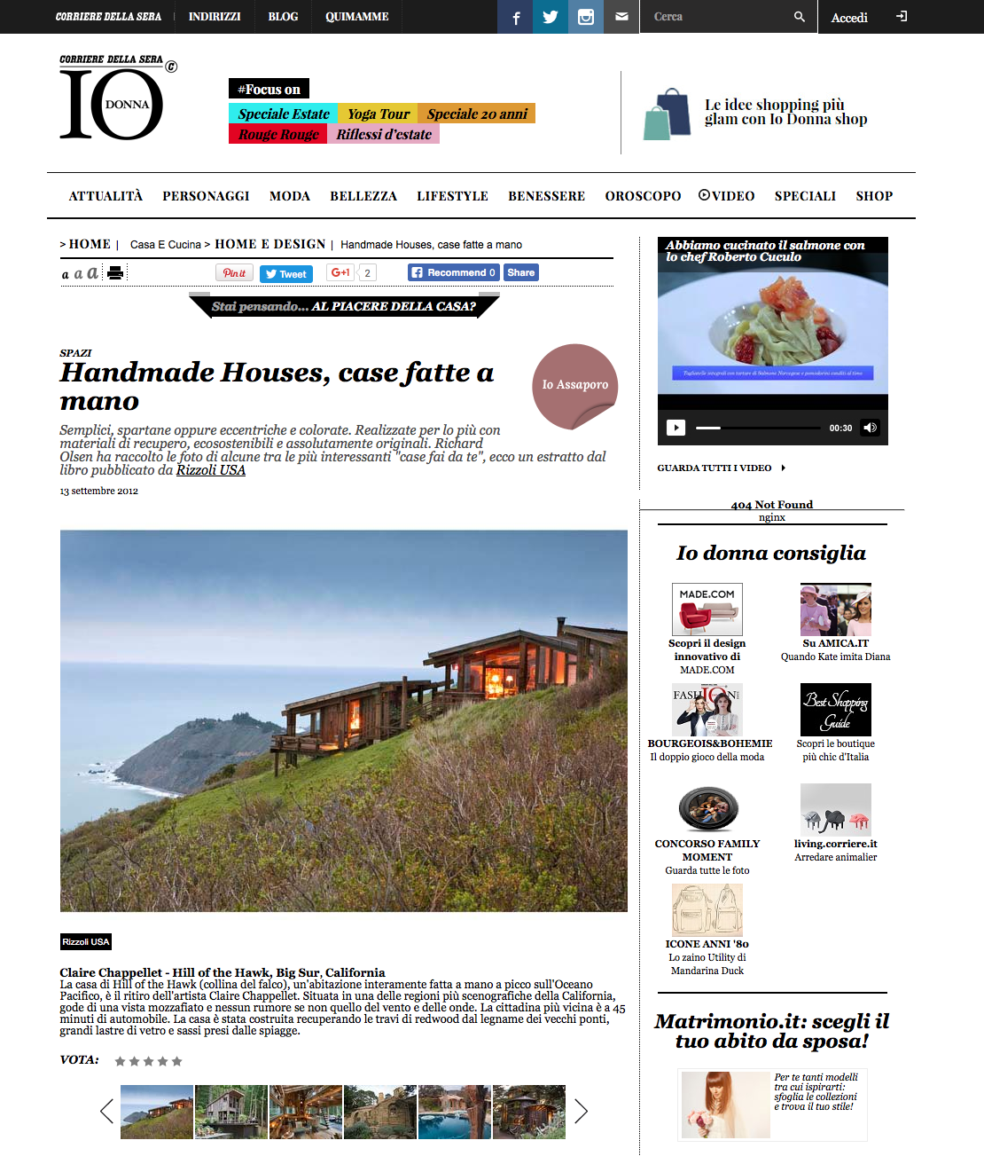 Handmade Houses   in   IO Donna, Corriere della Sera   (Italy), September 13, 2012.