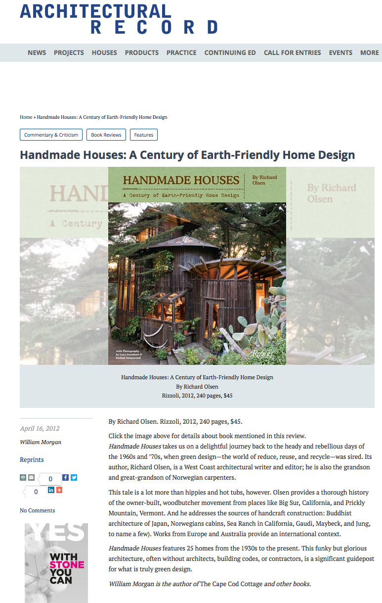 Handmade Houses   reviewed by William Morgan in   Architectural Record  , April 16, 2012.