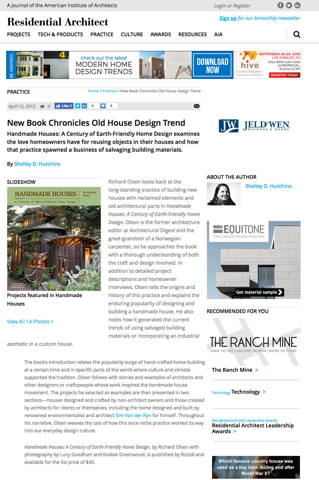 Handmade Houses   reviewed by Shelley D. Hutchins in   Residential Architect  , April 12, 2012.
