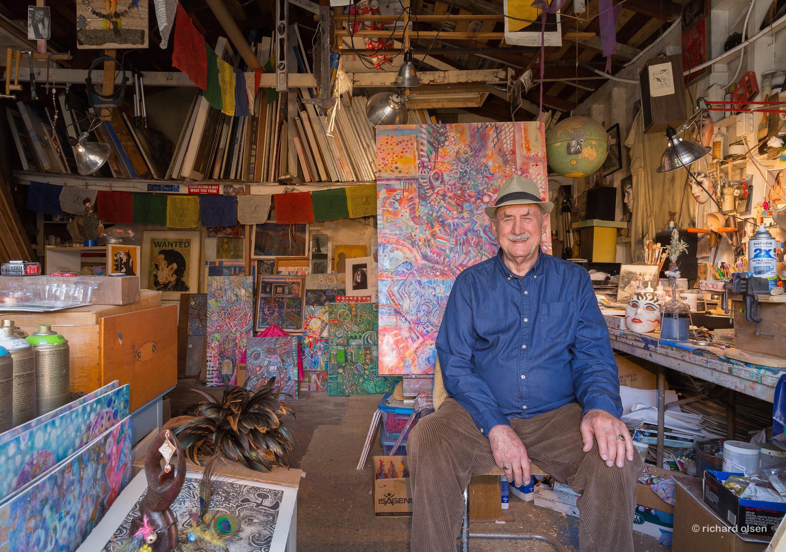 artist and poet bob branaman in his studio. santa monica