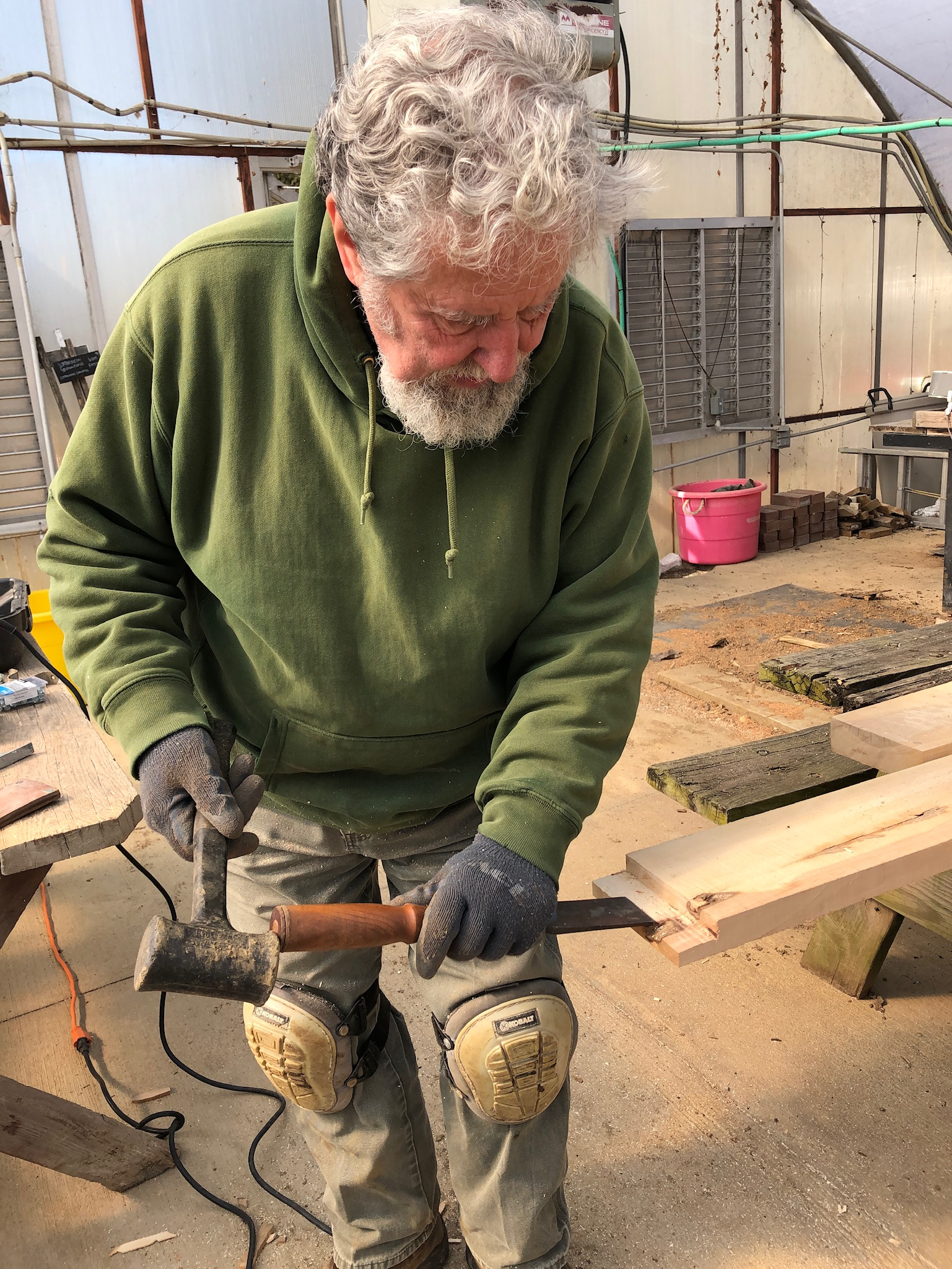 Tom chisels the foundation joints…