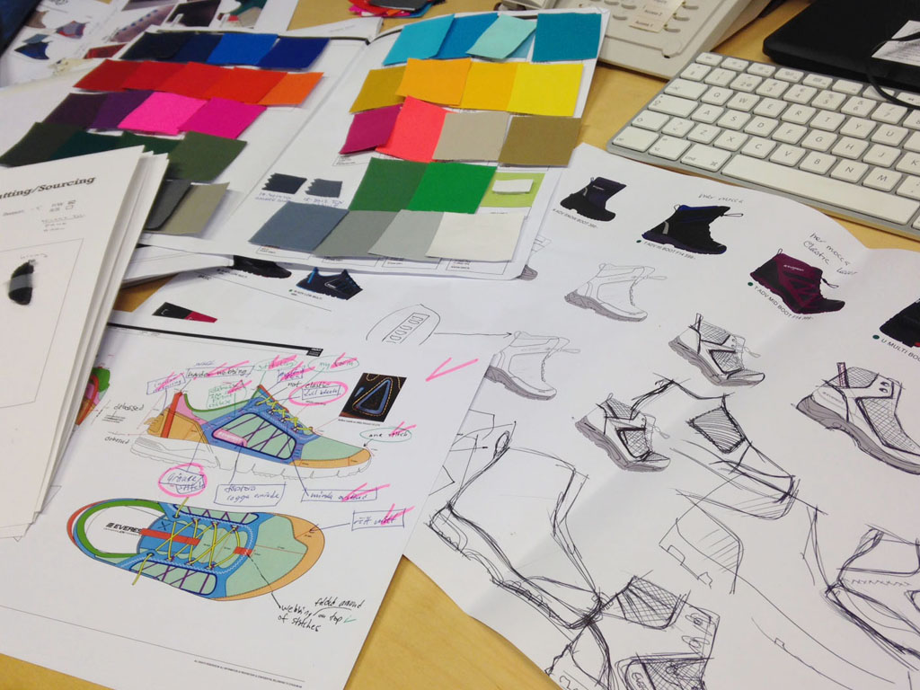 Photo showing early sketches, which were taken further into specification drawings with colour and material samples.
