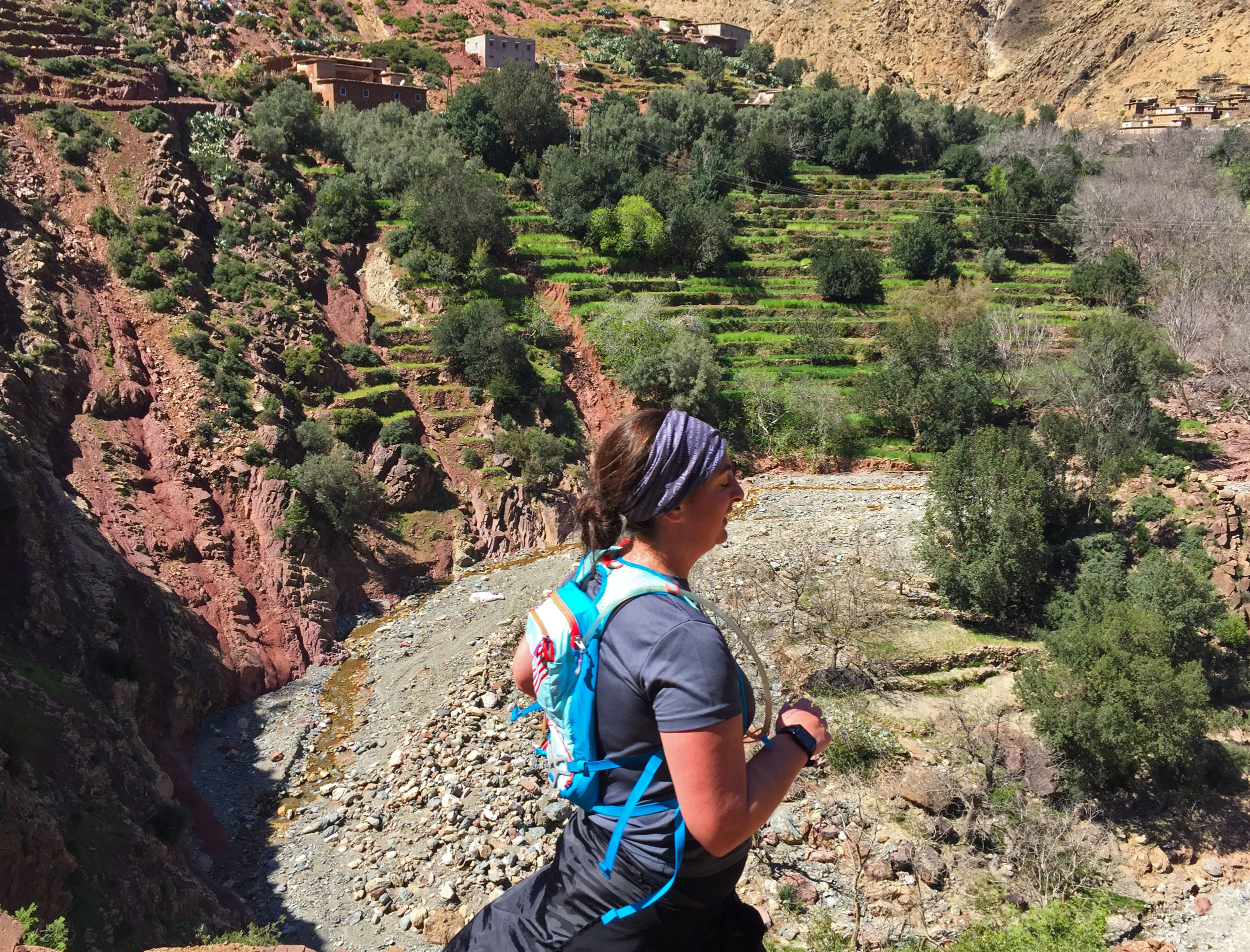 Lindy cruises high above a terraced river valley in the High Atlas Mountains in Morocco.