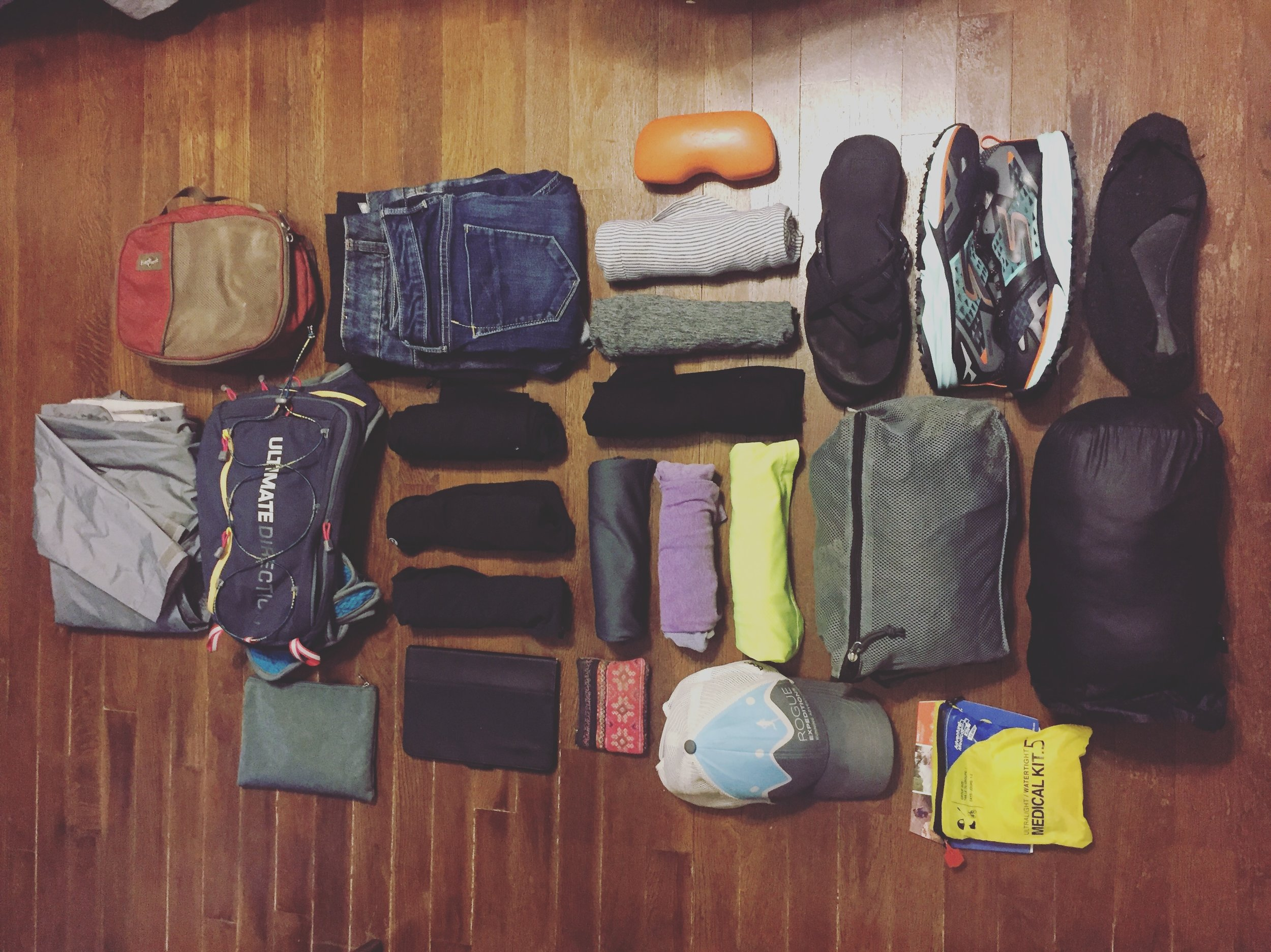 The basics: This is what I need for one month of traveling (for me, that means a little bit of city time and whole lot of outdoor and running time).
