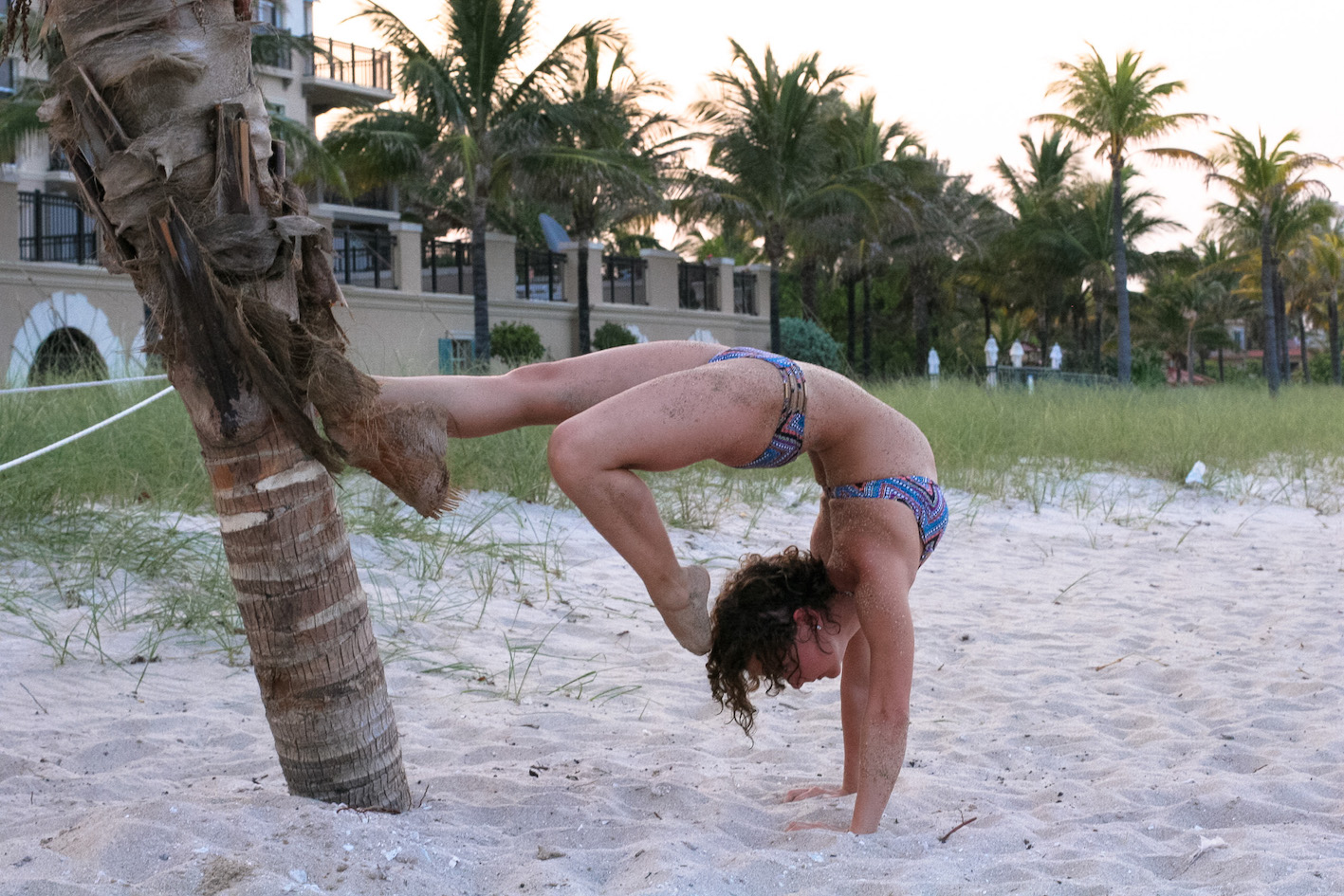 Beach yoga handstand with madeline fulton
