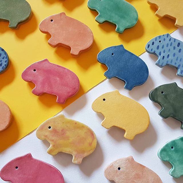 Wombat magnets marching to @melbourne_ceramics_market Second sale 🙃🙃🙃 Doors will be open at 10, see you there @coffeepeddlr!