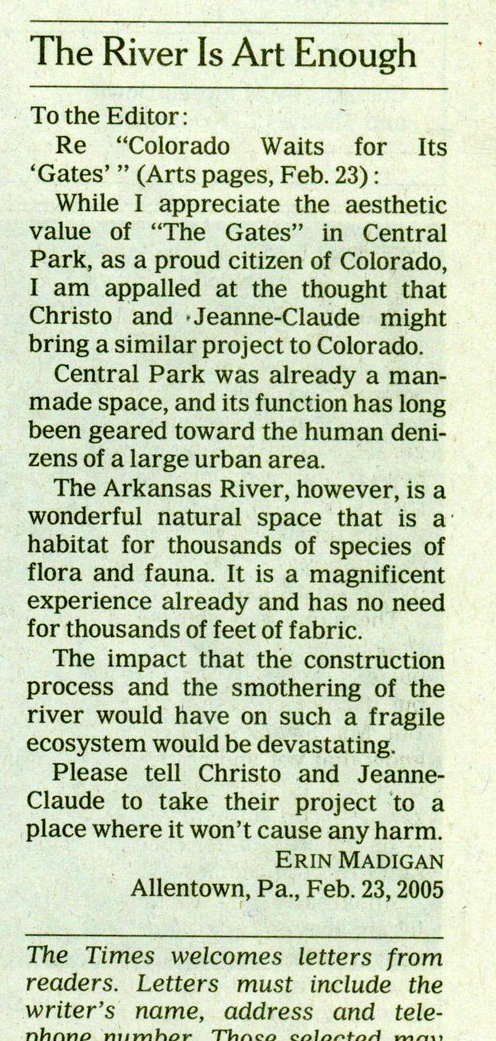 Erin's letter published on 2/26/05 in the  New York Times , at age 19.