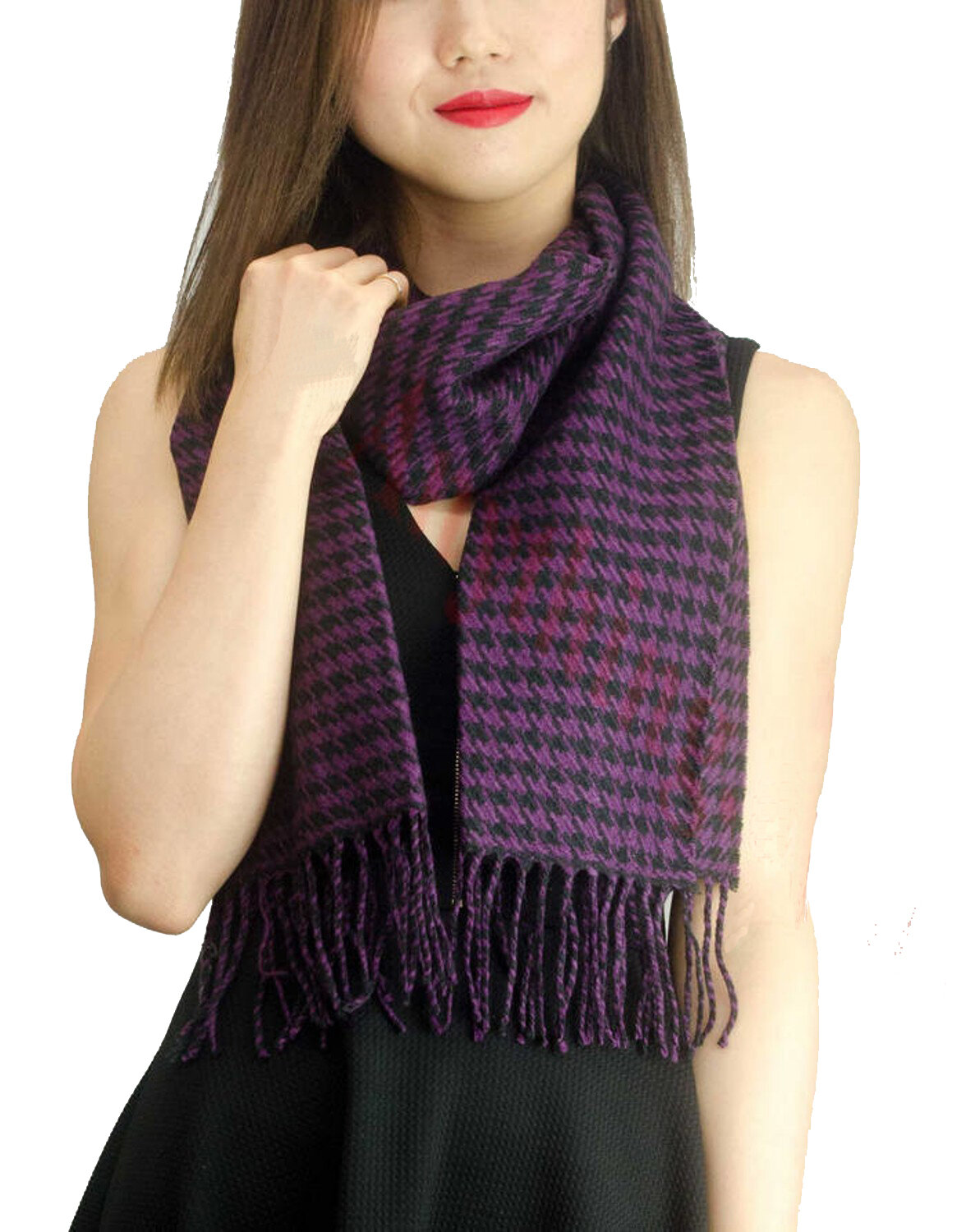 Cashmere Feel Houndstooth Scarves Cashmere Pashmina Group