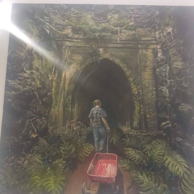 This picture was painted by a high schooler at the Ohio State fair. It's called follow your dreams.  I love the visual of the picture!  Are you willing to take the journey down a dark path, scary huh! Now you need to pull your own wagon, lonely huh!  Last part have faith, God has your back! . . . #superpowerful  #asseenincolumbus #ohiostatefair #dreamer #itsalonelyroad #keepthefaith #nopressurenodiamond