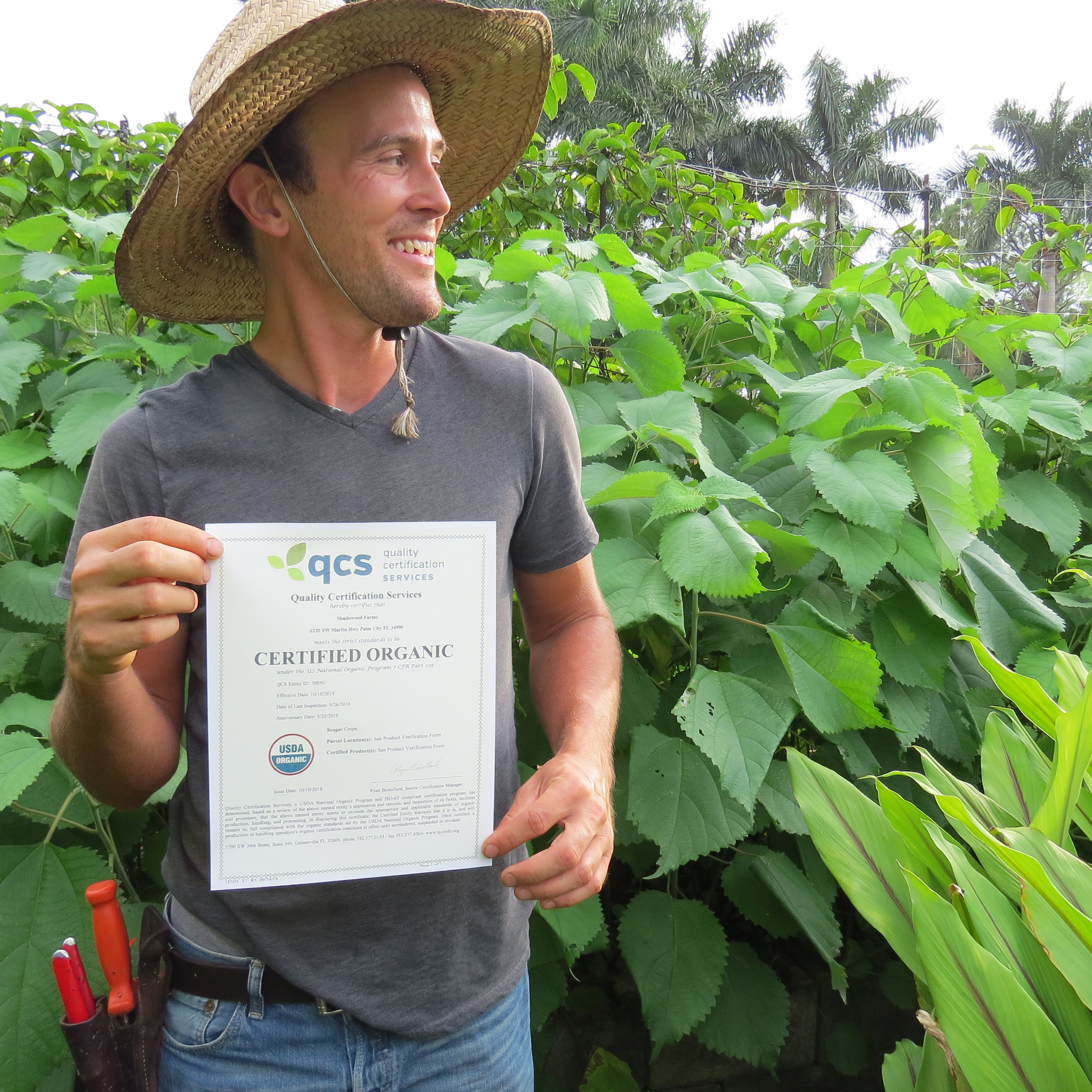 Nathaniel Fenton with our Shadowood Farm certificate.