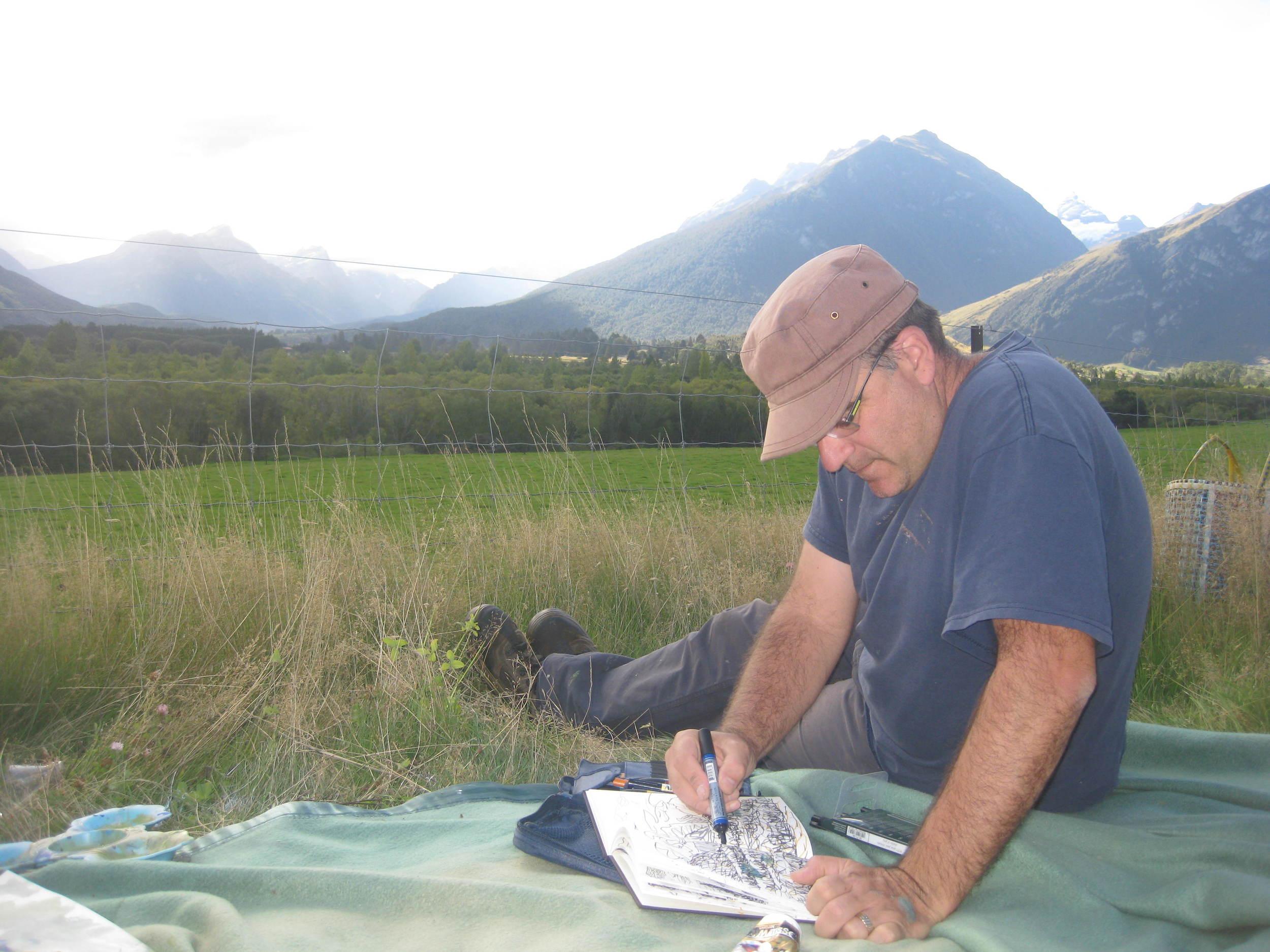 Steve Lopes sketching Queenstown