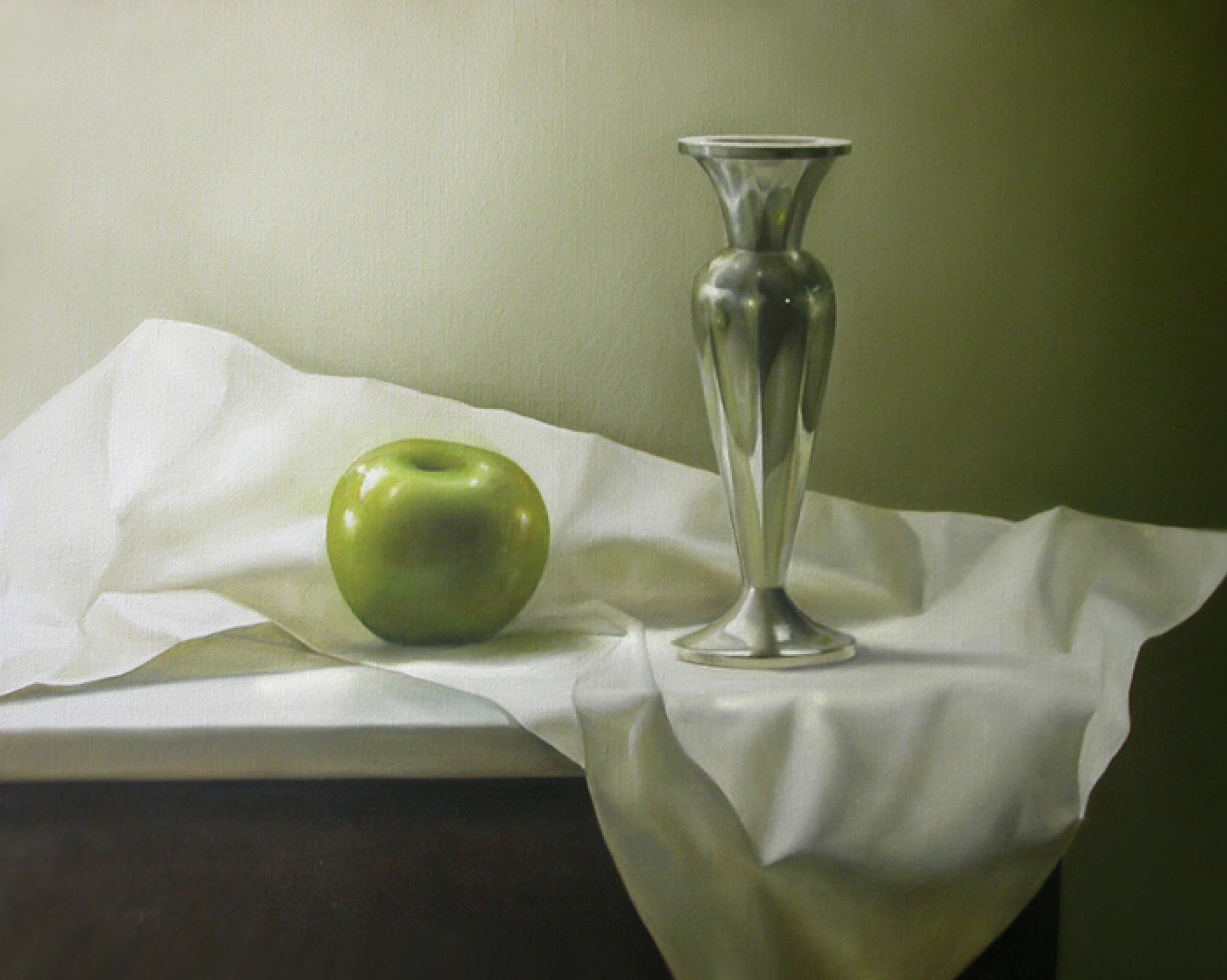 Apple & Silver Vase