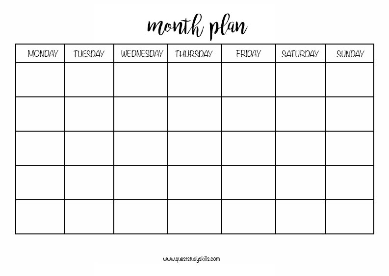 Month Plan. Print and enter your own dates.