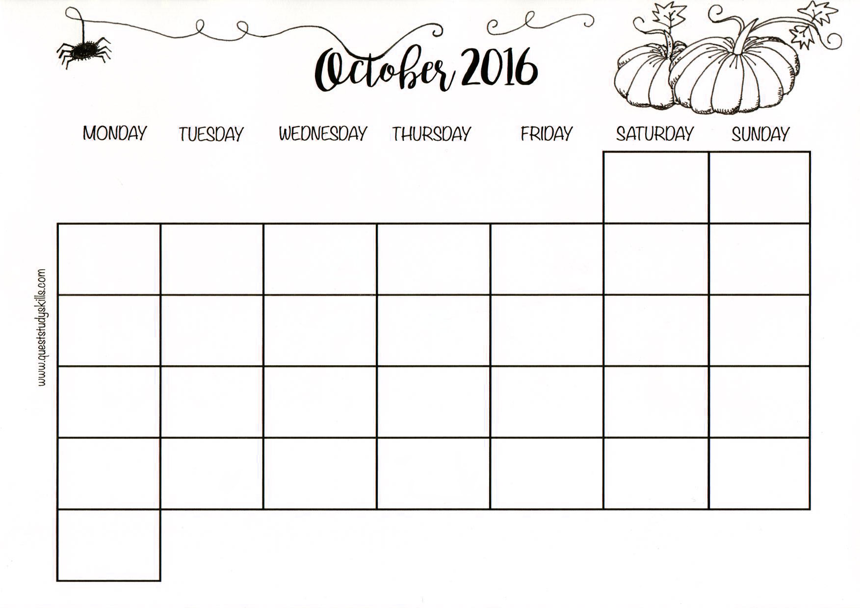 Month Plan Printable for October 2016 !!