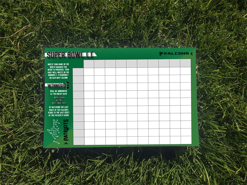 Fixx Super Bowl Squares Board