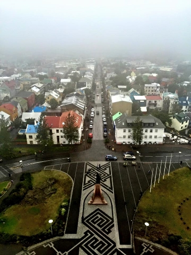 Reykjavik from  Hallgrímskirkja on a foggy day
