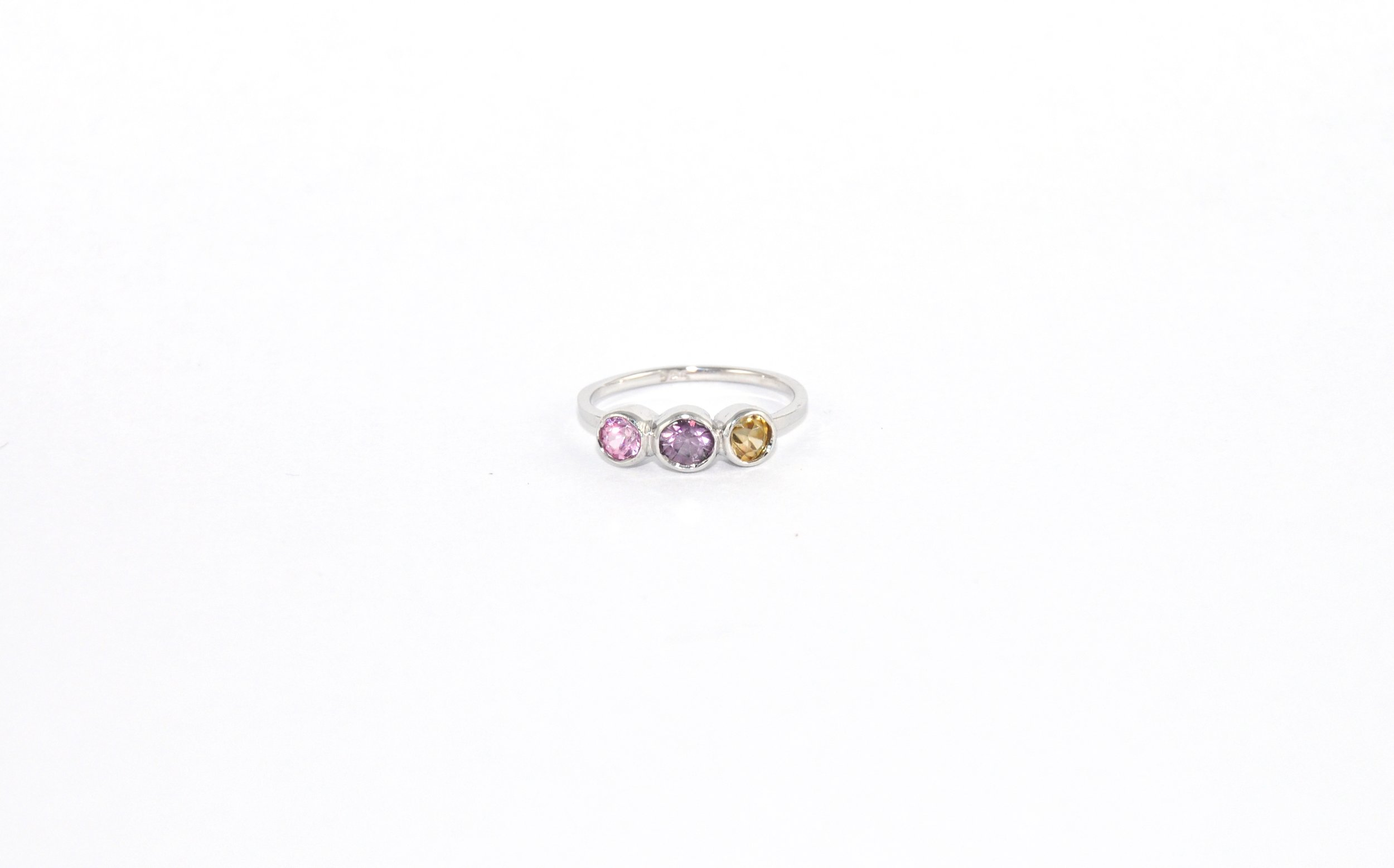 3 Stone Spinel Ring - Bezel Setting