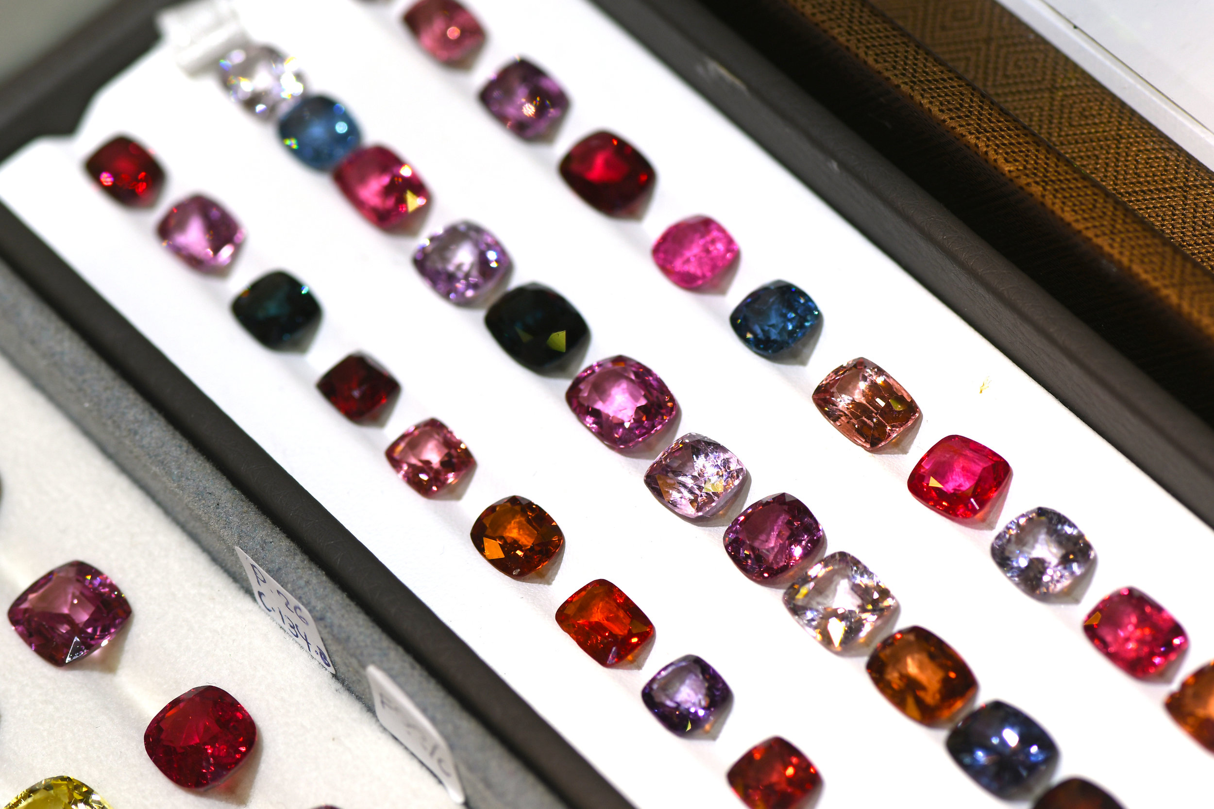 A selection of vibrant Burmese Spinels
