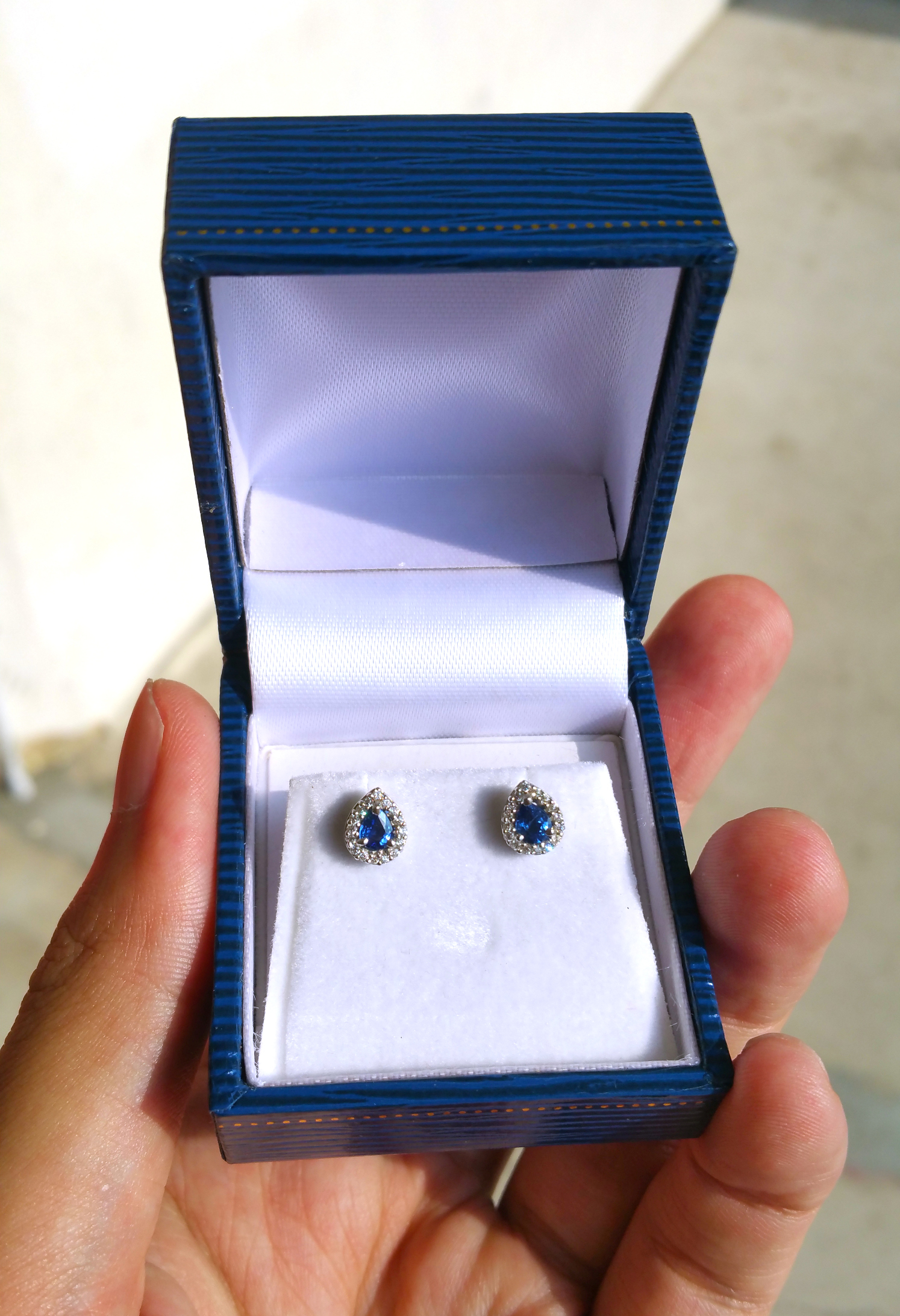 Customised Blue Sapphire Earrings - Singapore Jewellery