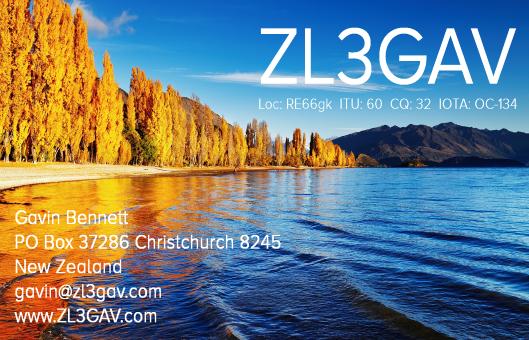 ZL3GAV QSL CARD - LAKE WANAKA SOUTH ISLAND NEW ZEALAND