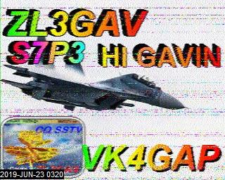 SSTV QSO with VK4GAP 14230Khz June 2019