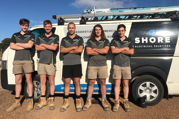 From left - Hayden Carey (new school-based apprentice), Max Bower, Jamie Kidney, Levi McDonald and Mitchel Garrett.