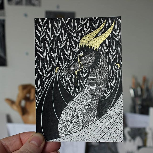 @inktober day 12 - dragon He turned out alright, didn't he?  And yes he is crying because I always remember a book I use to love as a kid about a dragon who was being teased by all the other dragons and hid in a little girls garden aannnd that's all I can remember, I may have to have a google. . . #inktober #inktoberworld2019 #inktoberuk #inktoberday12 #dragonsbreath #daenerys #dragonillustration #motherofdragons #botanicalillustration #studiodays #wings #goldink #artistsart #penandinkillustration #medieval #eragon #girlswhodraw #womenofillustration #monochromeillustration #scales #magic #goldink #folkloretales #girlsinwork #etsyseller #smallbuisnessowner #smallworks #tinyart #folkart #dragonriders