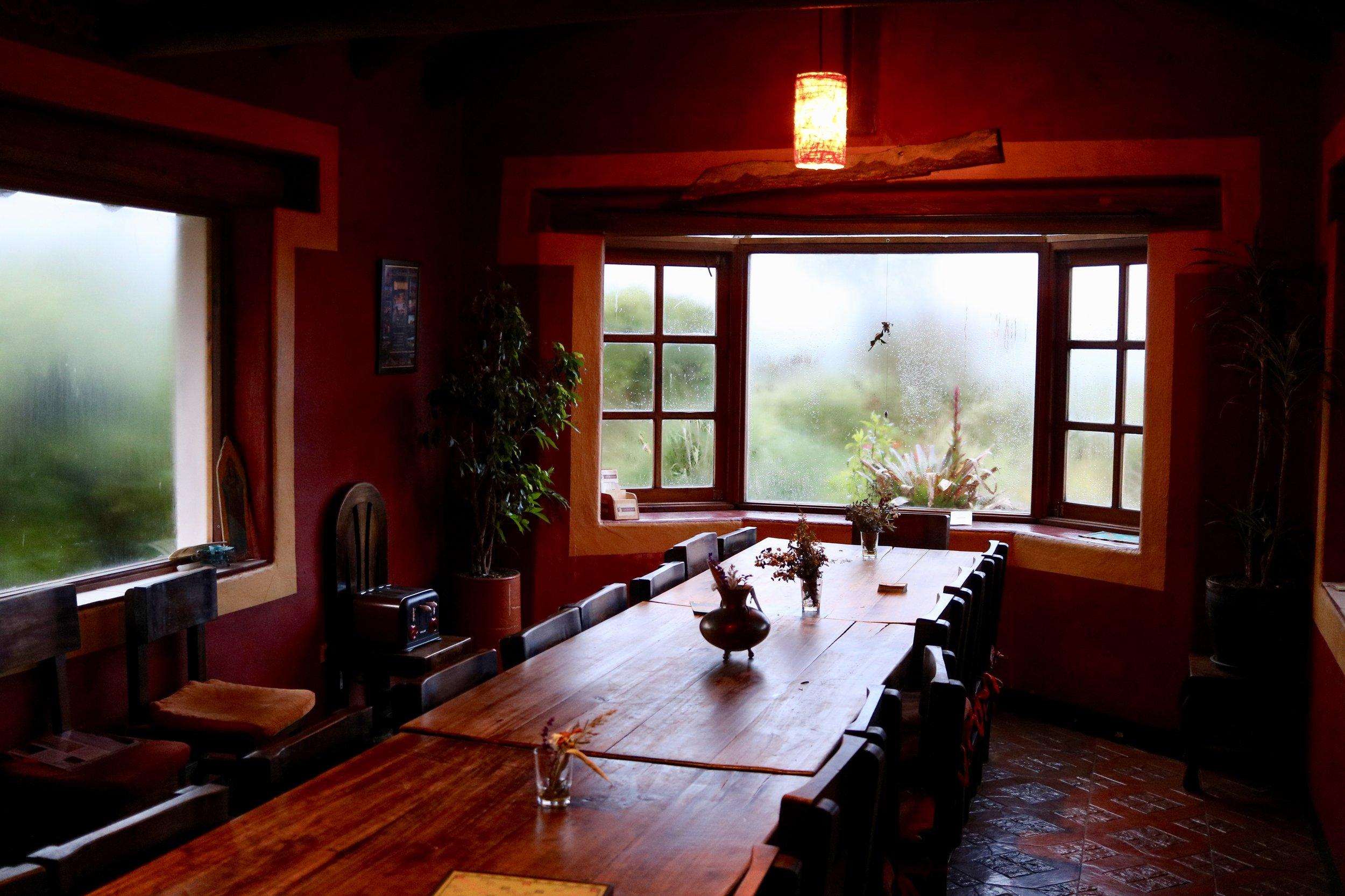 Dining Room at Secret Garden Cotopaxi, Ecuador