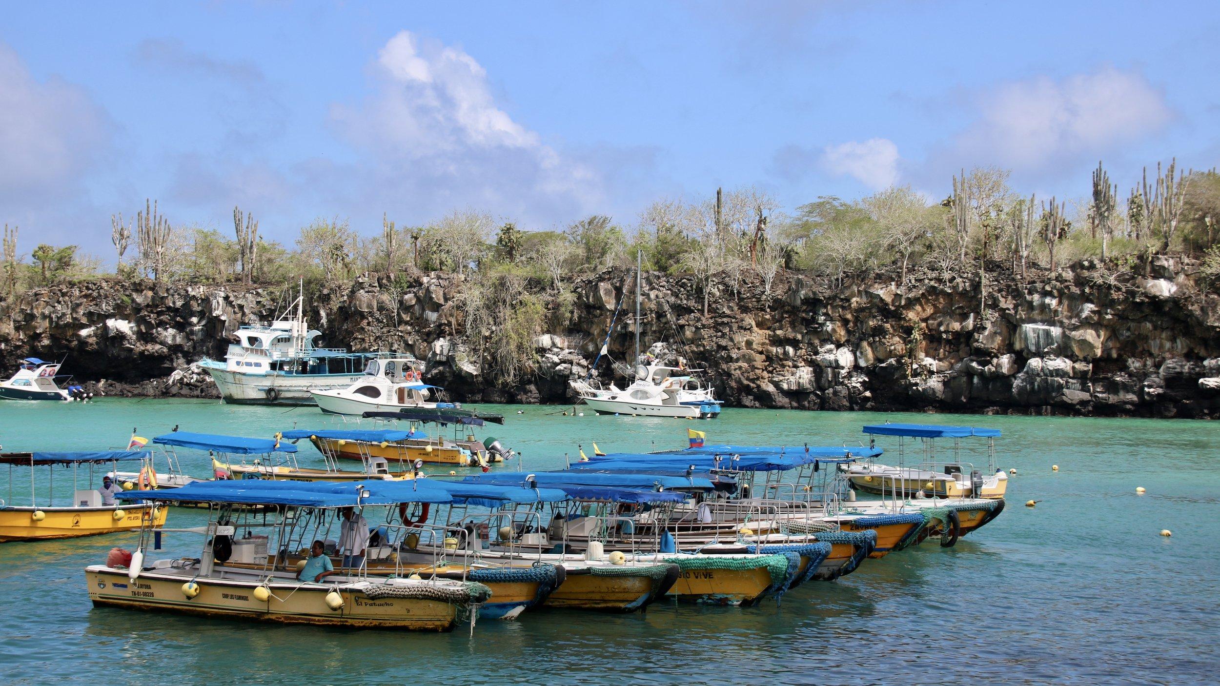 Boats at Santa Cruz port, Galapagos islands, @acrosslandsea