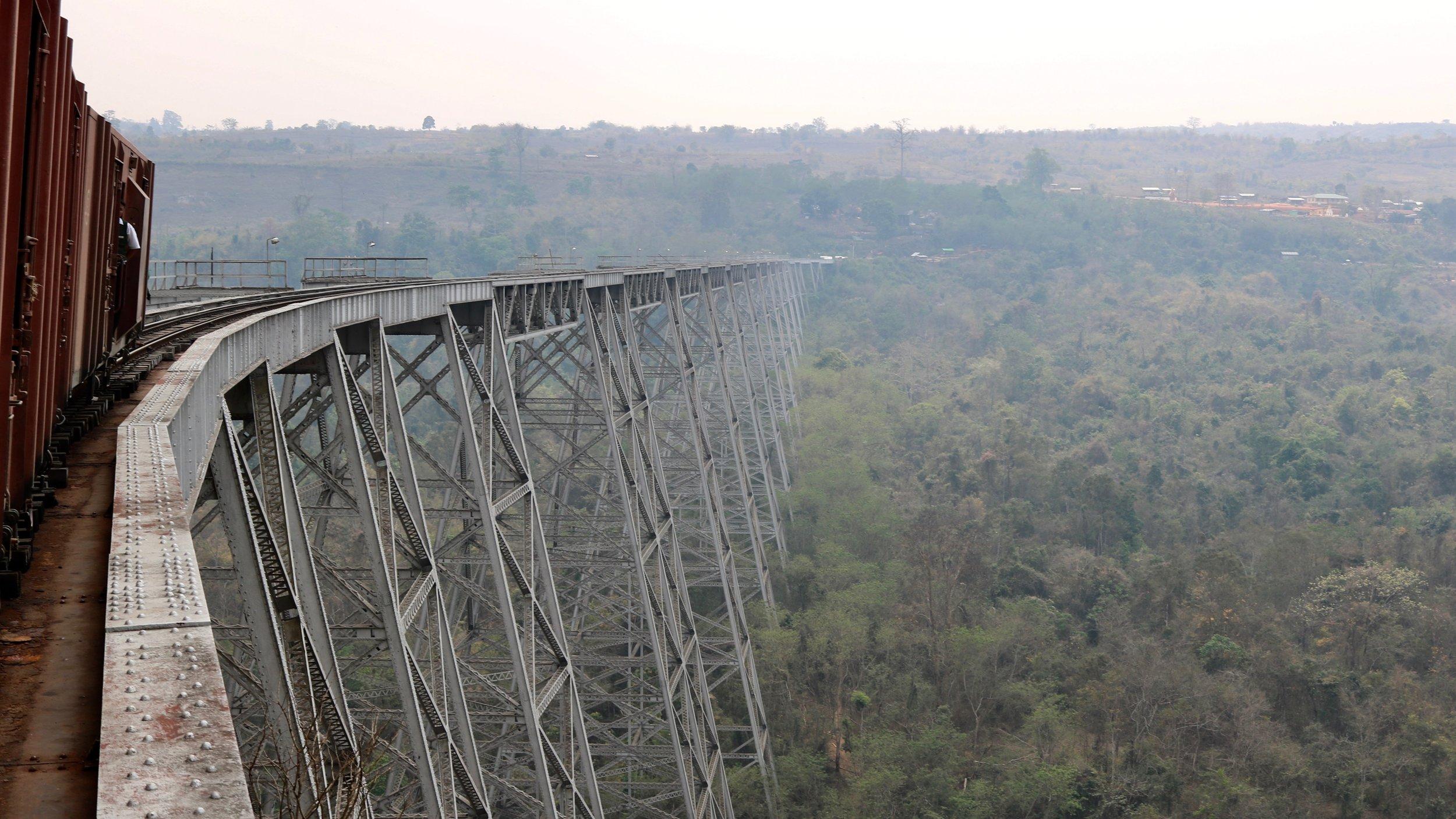 Train over the Goteik viaduct, Mandalay to Hsipaw, Myanmar @acrosslandsea