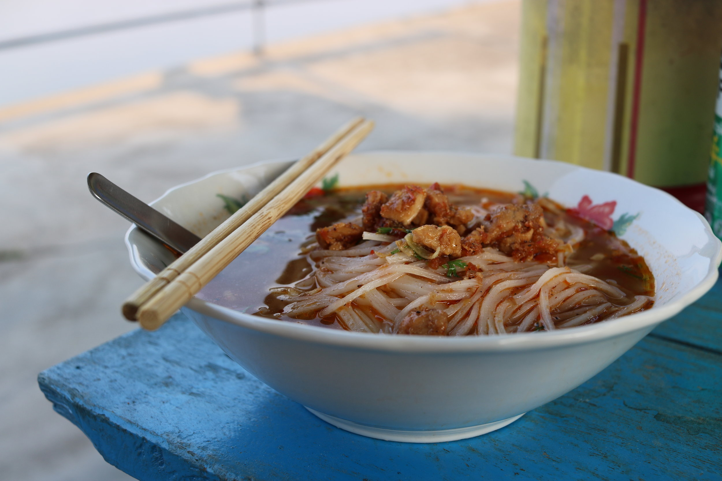 Shan noodle soup at Blackhouse Coffee Shop, Hsipaw, Myanmar @acrosslandsea