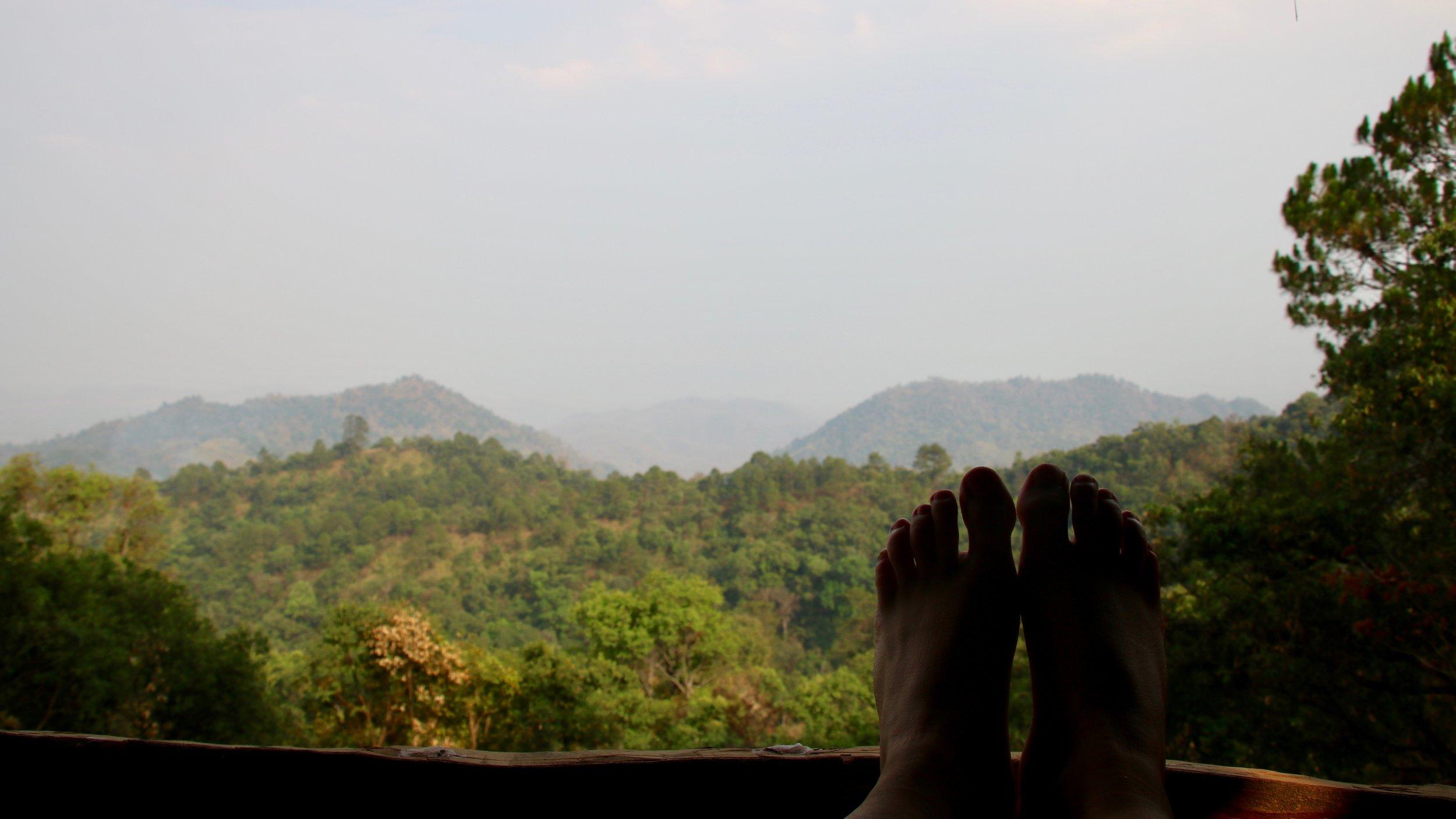 Resting feet after trekking at Mr Bike's treehouse near Hsipaw, Myanmar @acrosslandsea
