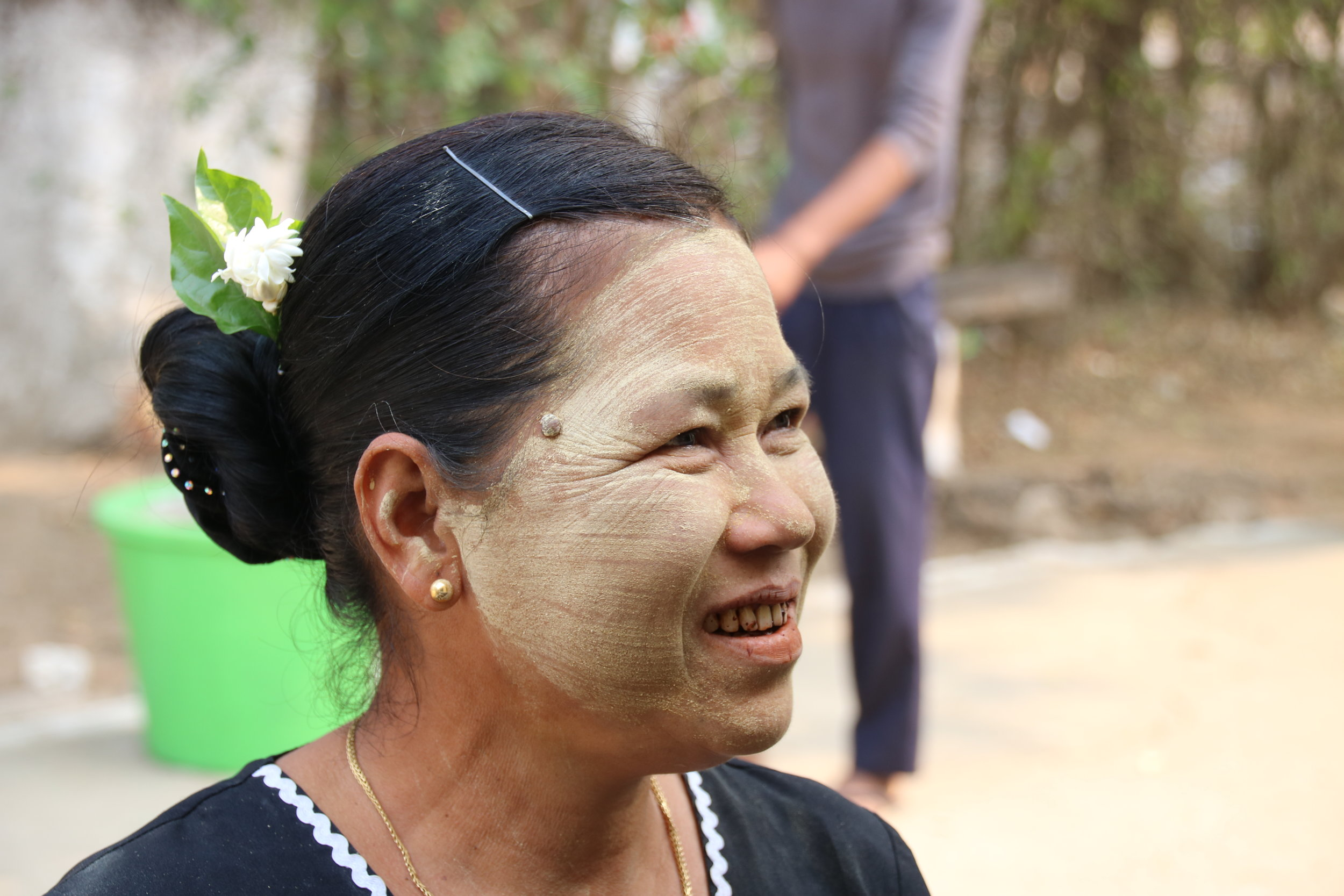 Myth-busting Myanmar, misconceptions. Women with thannakah