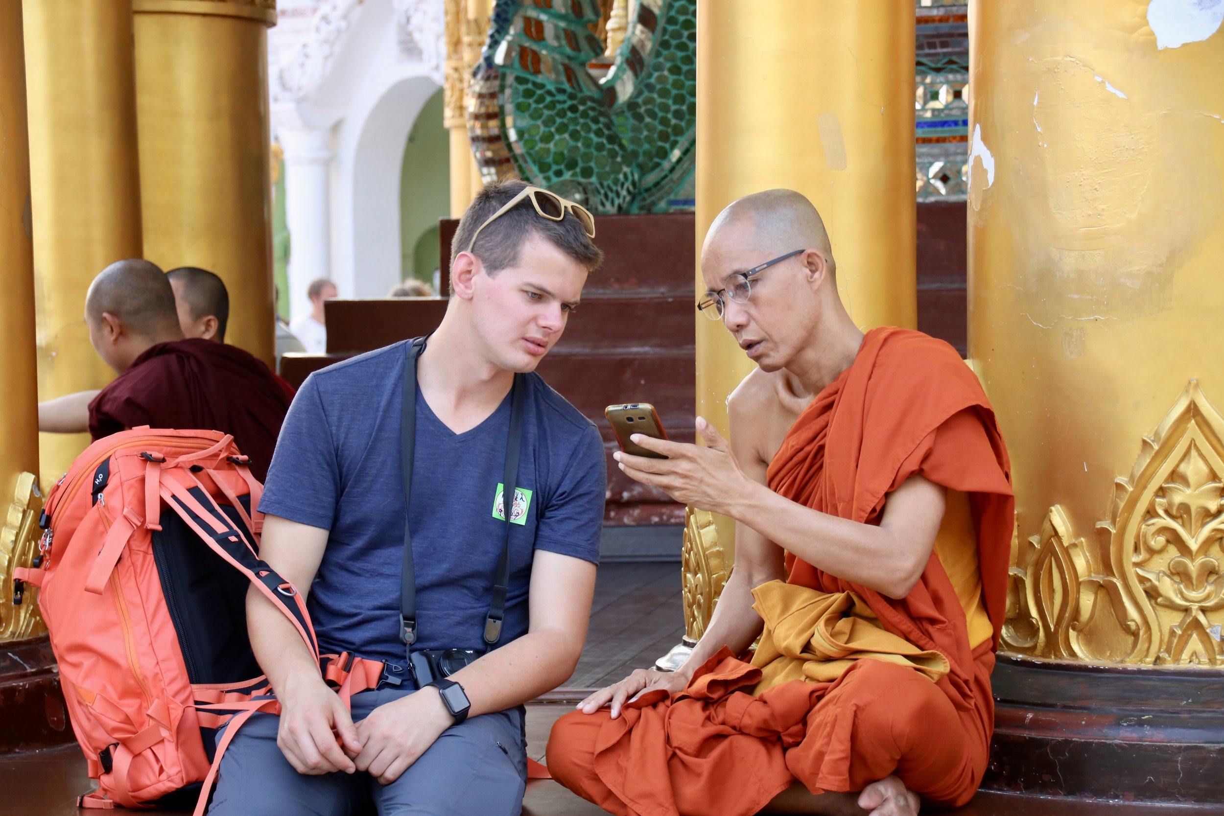 Buddhist monk, Shwedagon Pagoda, Yangon, Myanmar