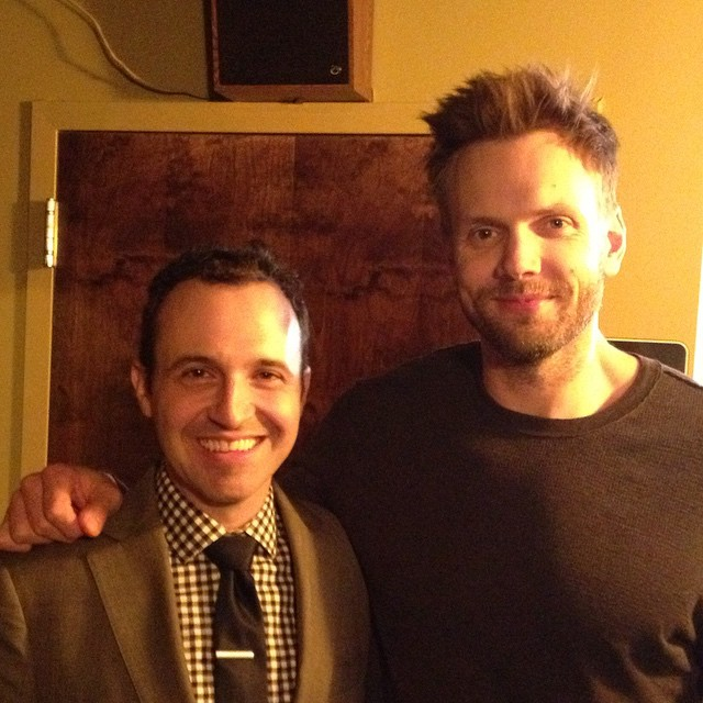 Joel McHale is every bit as tall and handsome in person as you would imagine. Maybe even more so. (at Helium Comedy Club)