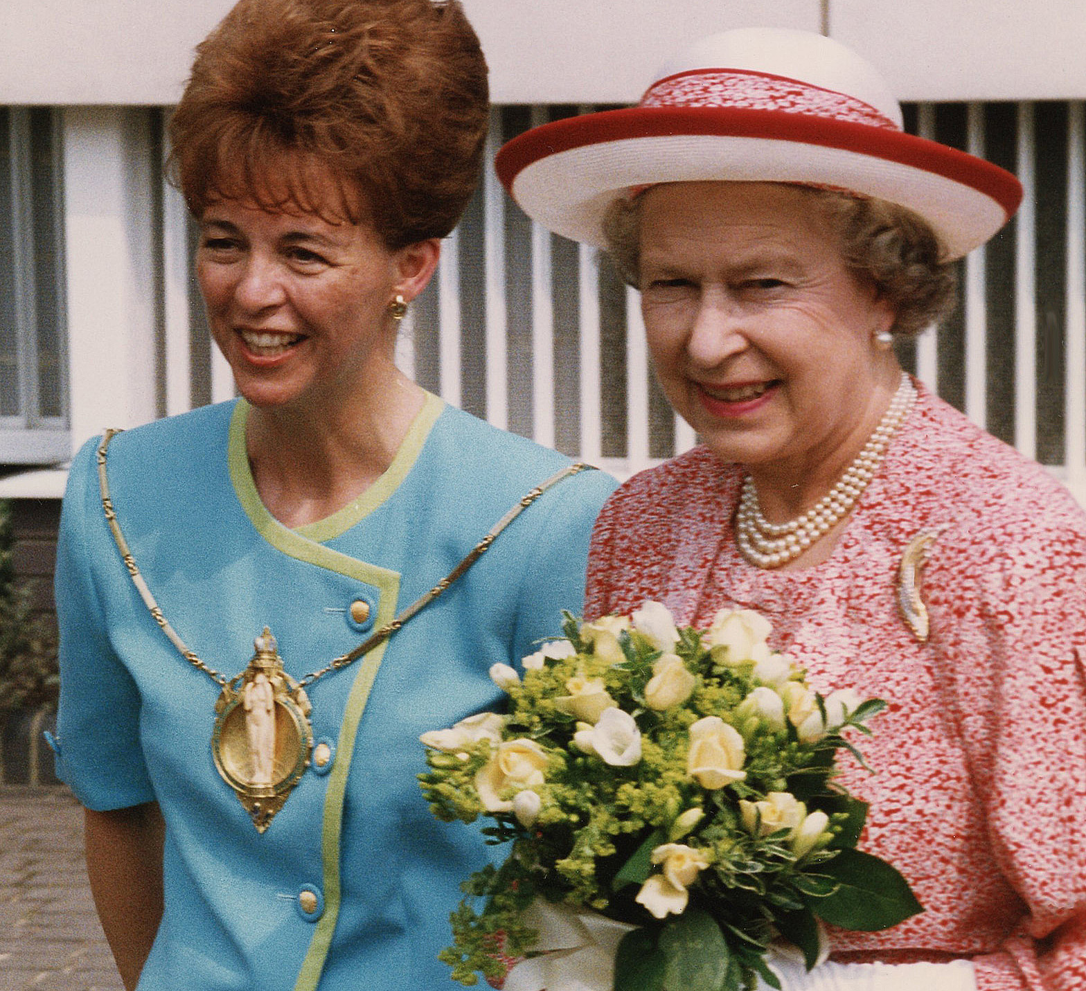 Philomena escorts HM Queen around the Chelsea Harbour Sculpture'93 exhibition, London. Sponsored by P&O
