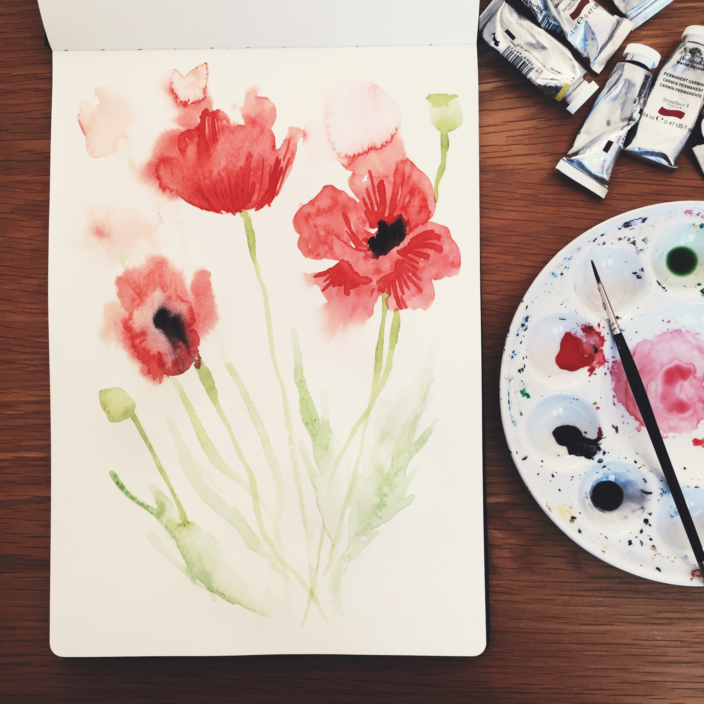 The immediate and etherial nature of watercolours is something I love. Those smudgy drips of colour have a mind of their own!