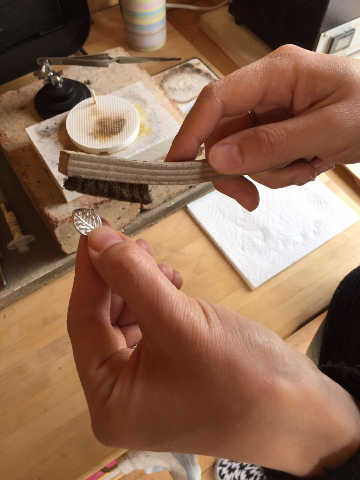 And as if by magic... the brass brush revealed beautiful shiny silver!