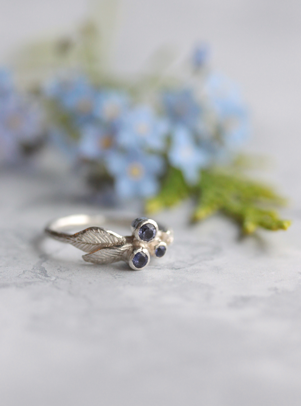 Woodland twig ring with iolite berries