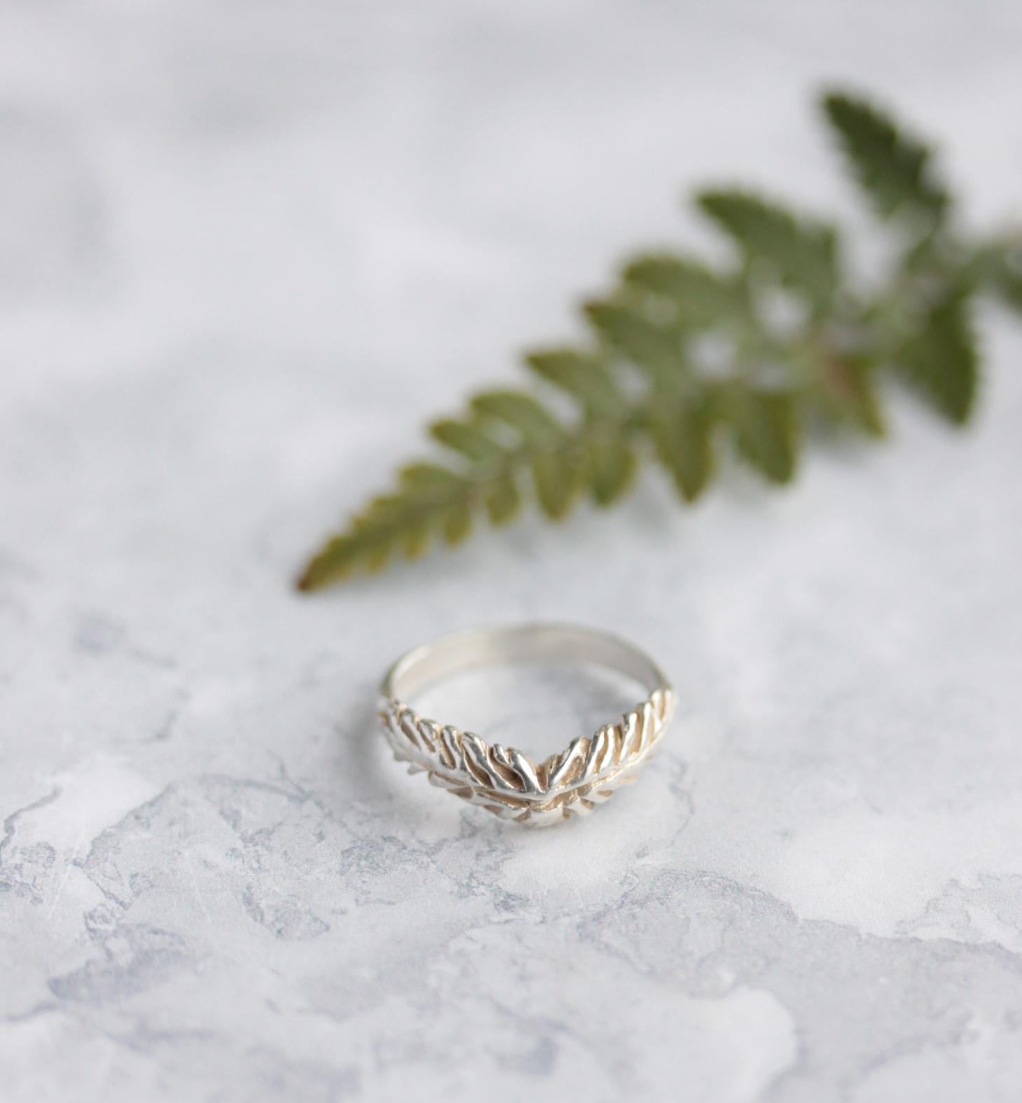 Fern wishbone ring.