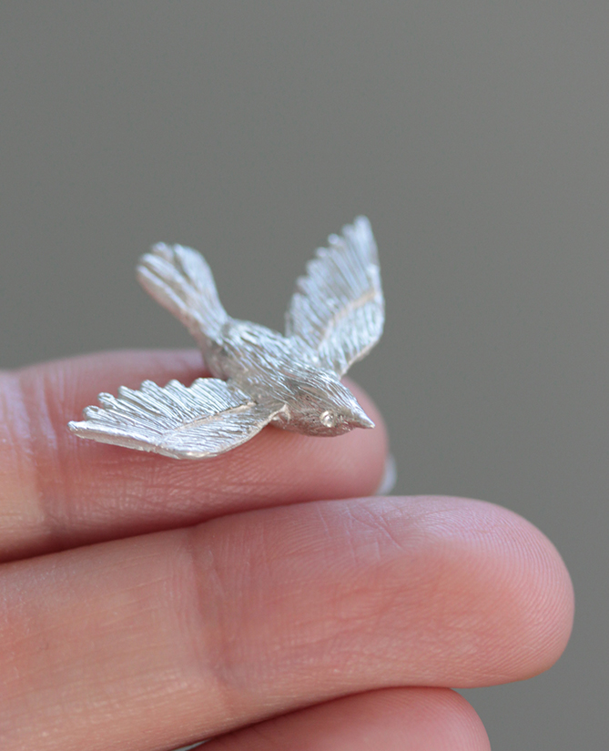 Little wren cast in sterling silver.