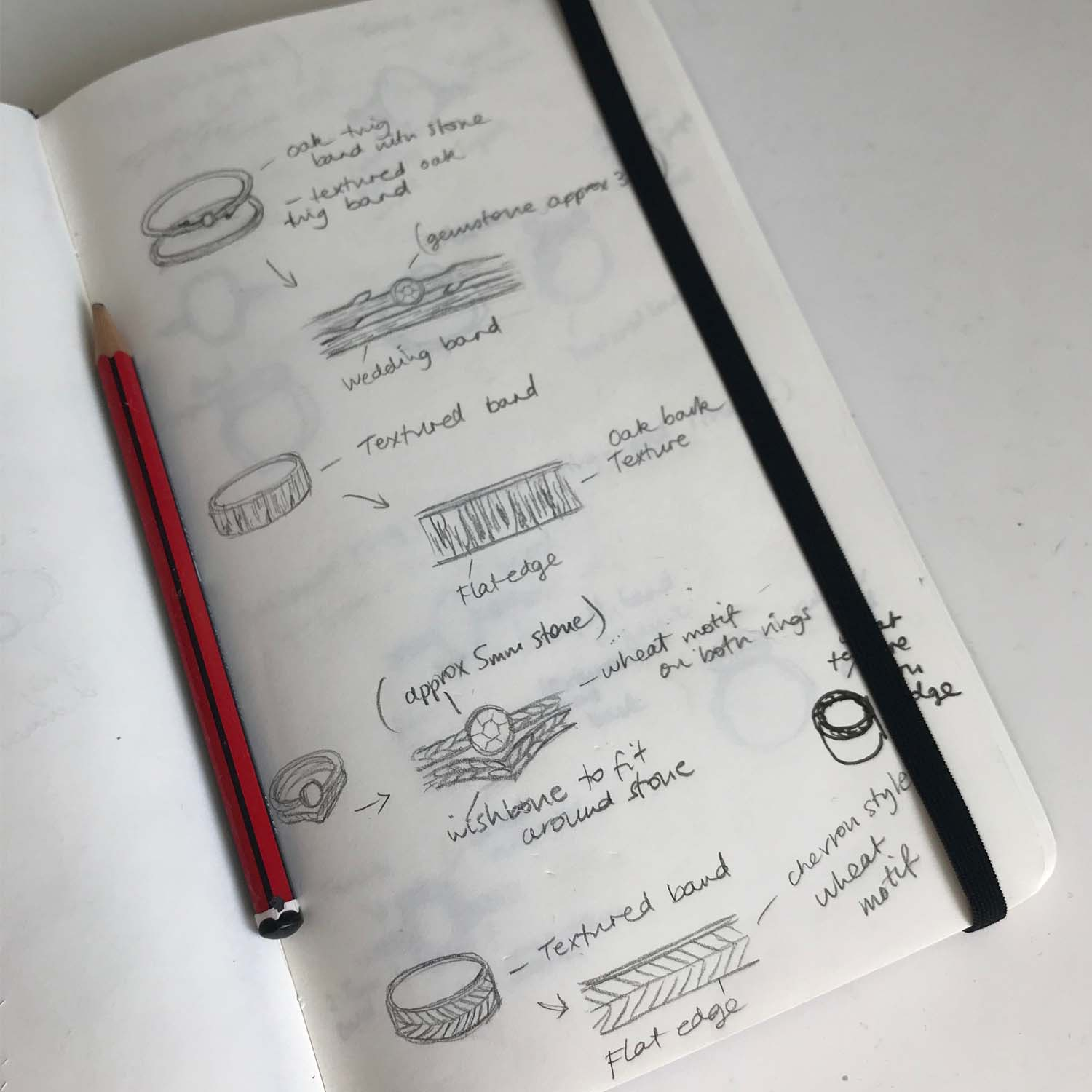 Ideas always start off with sketches and helps customers visualise the designs.