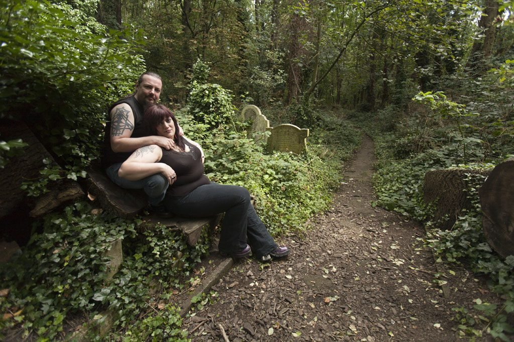 Darren and Caz - Portrait at Abney Park Cemetary -  © Mario Julio Georgiou 2016