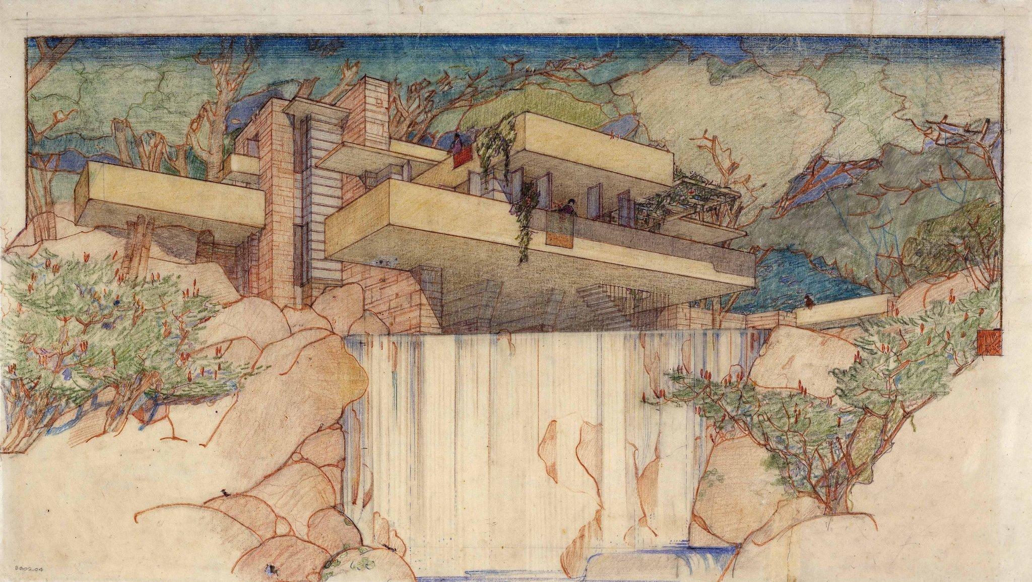 Fallingwater - Sketch by Frank Lloyd Wright