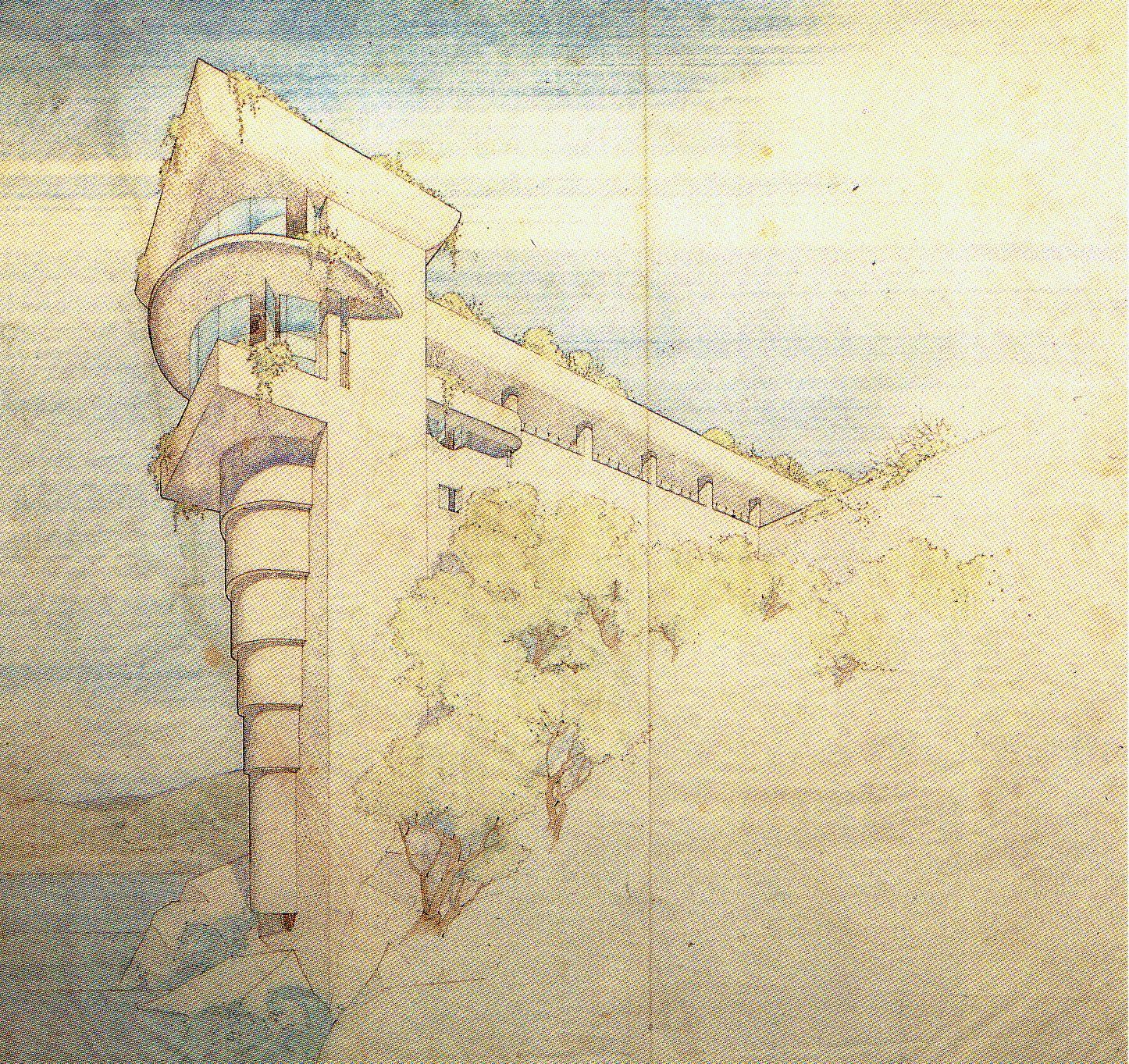 Morris House - Unbuilt - Sketch by Frank Lloyd Wright